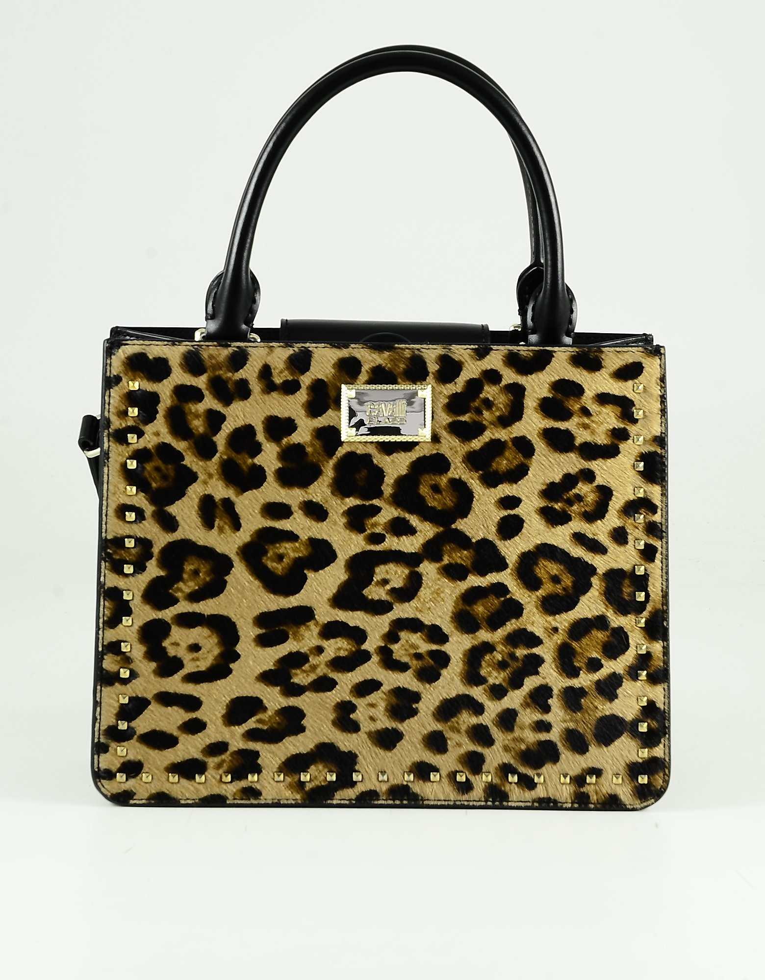 Class Roberto Cavalli Animal Print Haircalf And Black Leather Tote Bag In Brown