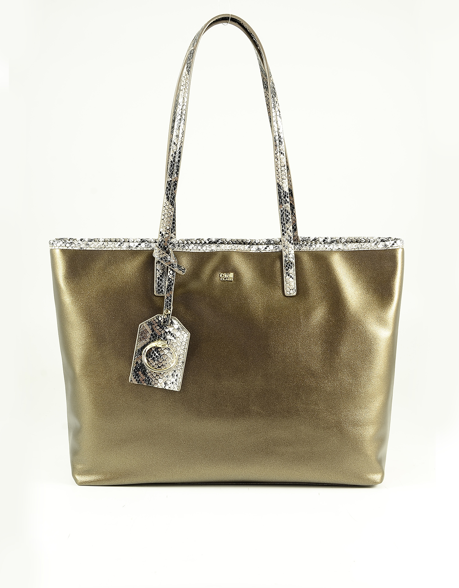 Class Roberto Cavalli Metallic Bronze Eco-leather Tote Bag