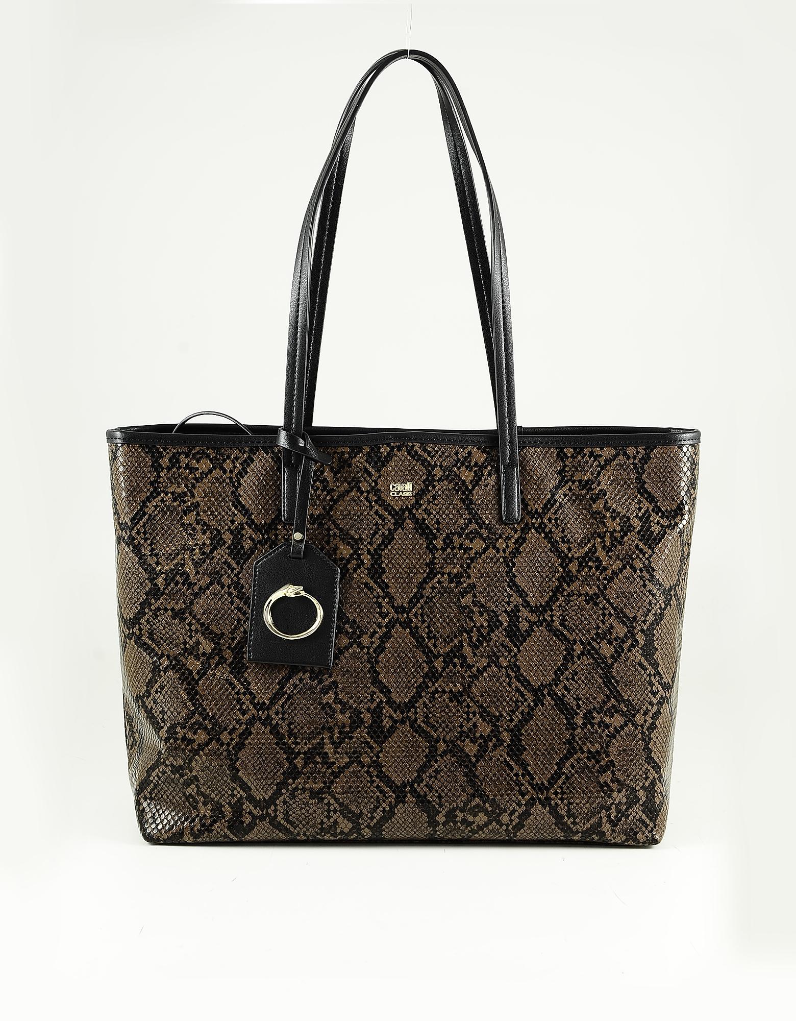 Class Roberto Cavalli Brown & Black Animal Print Eco Leather Tote Bag