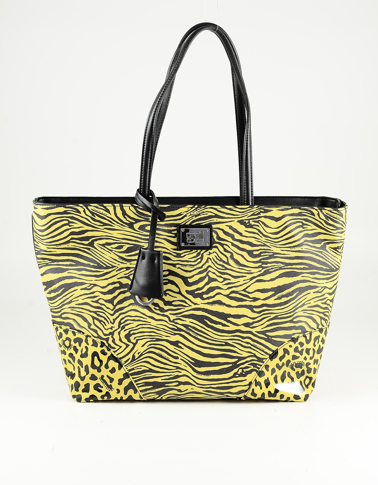 Class Roberto Cavalli Yellow & Black Animal Print Tote Bag