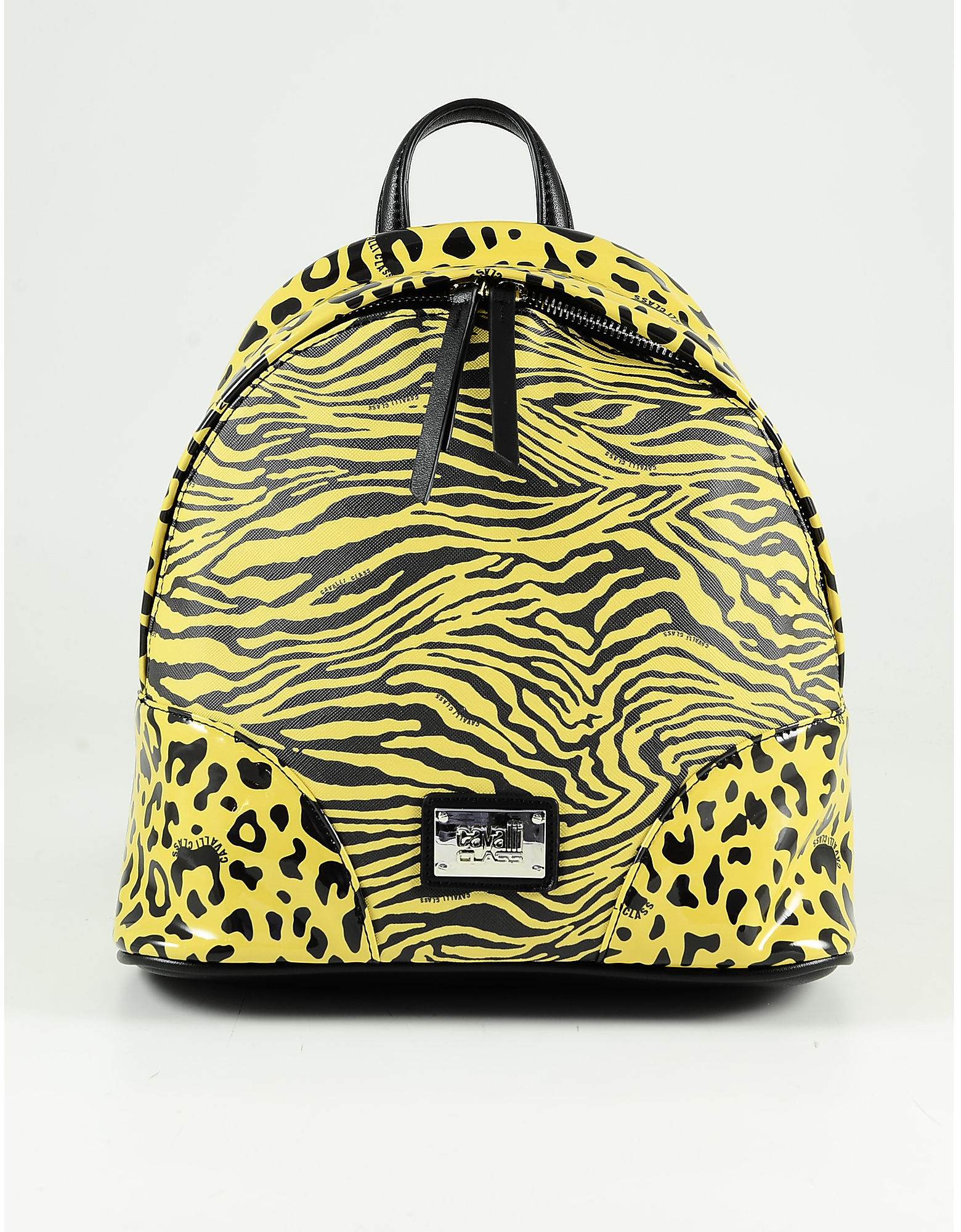 Class Roberto Cavalli Yellow & Black Animal Print Backpack