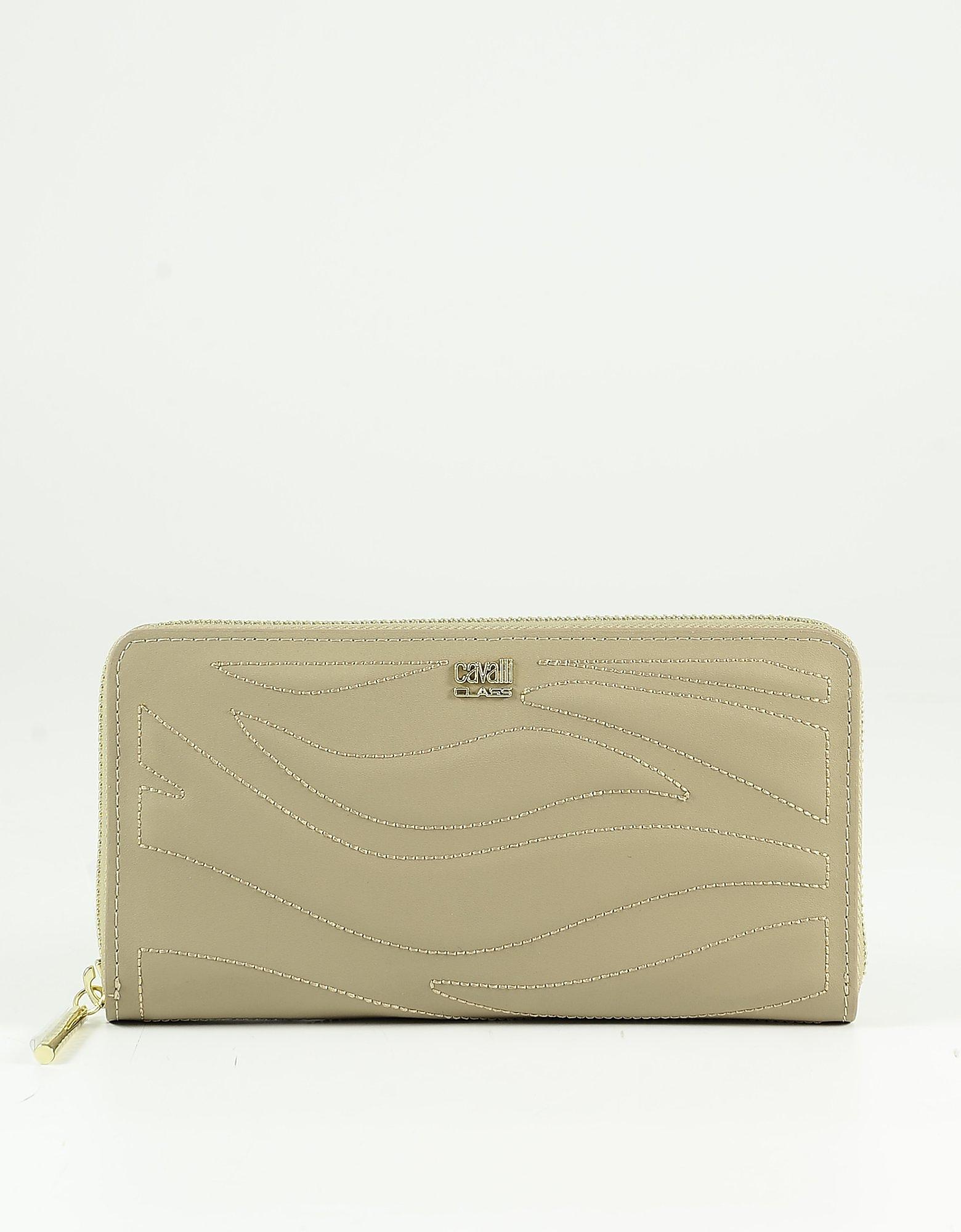 Class Roberto Cavalli Light Brown Leather Women's Zip-around Continental Wallet In Beige