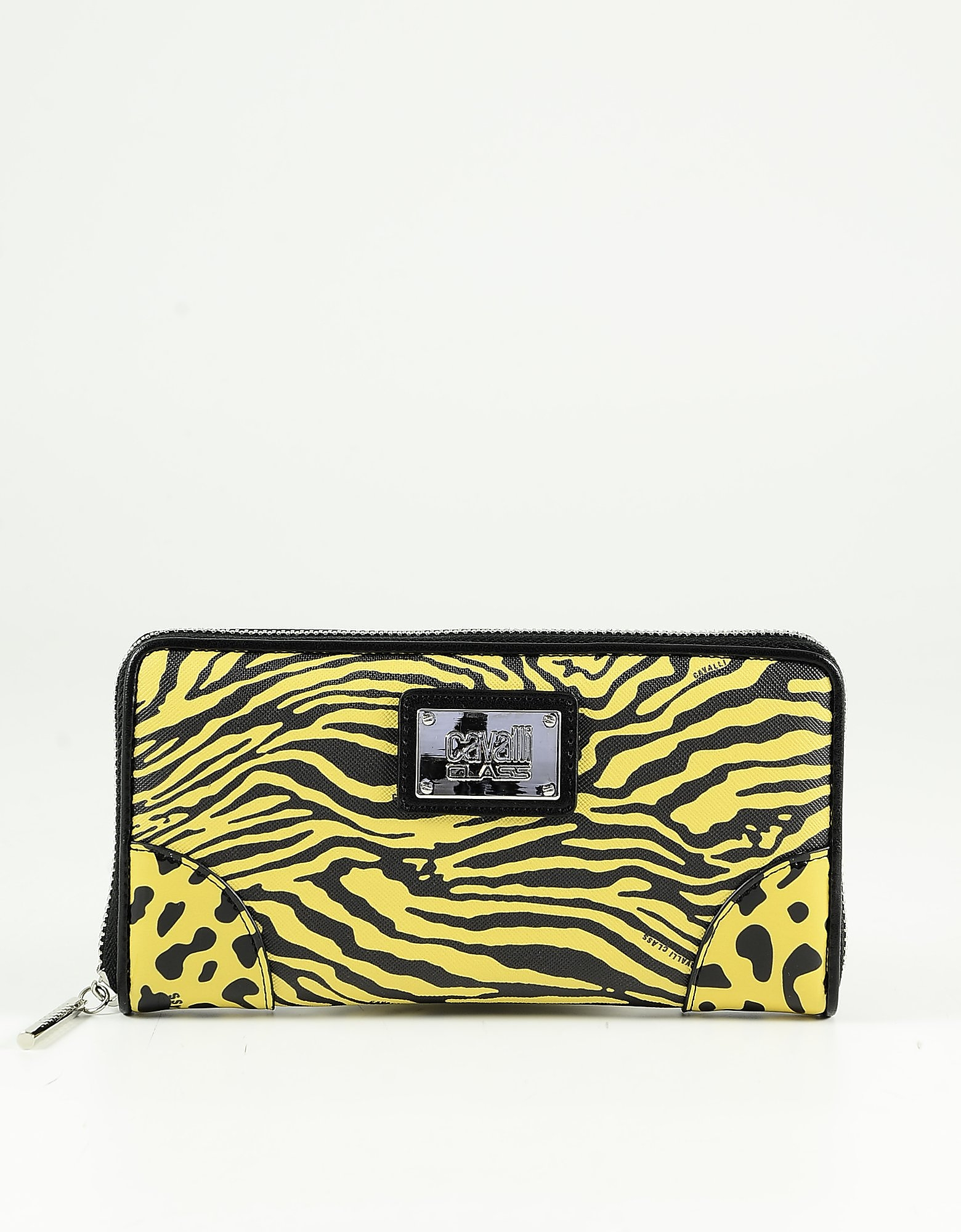 Class Roberto Cavalli Bright Yellow & Black Animal Printed Eco-leather Zip Around Women's Wallet