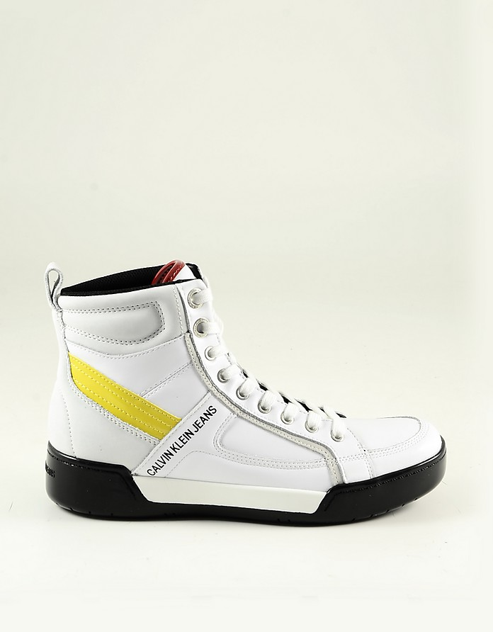 White Leather High-Top Men's Sneakers - Calvin Klein Collection