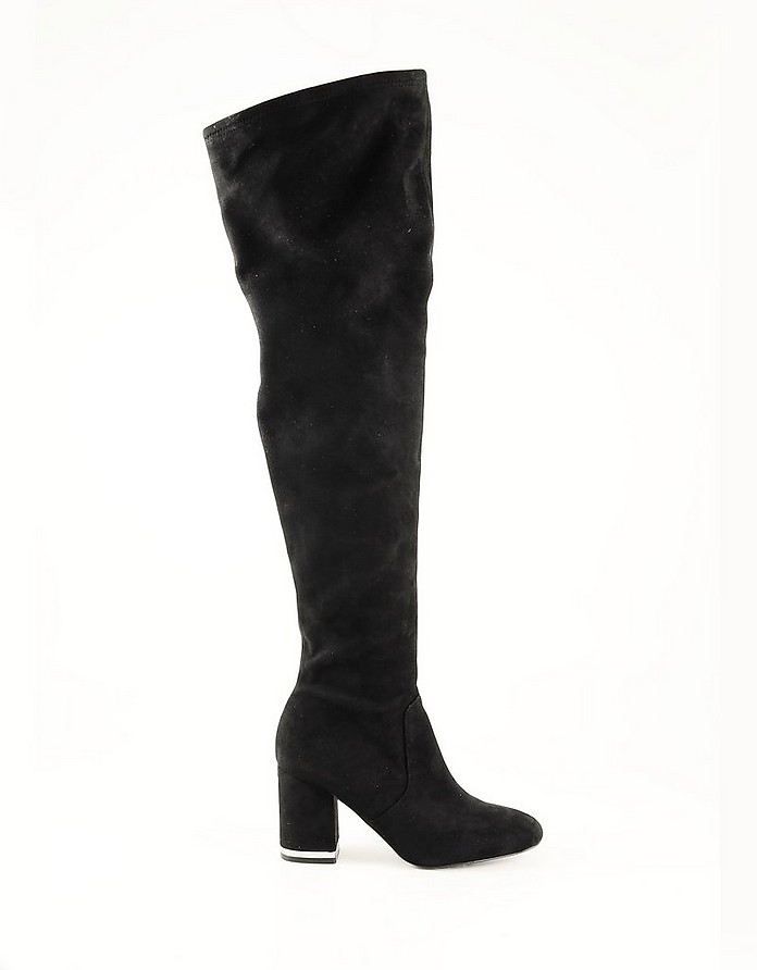 Black Leather Over-the-Knee Women's Boots - Calvin Klein Collection