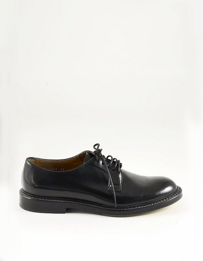 Black Shiny Leather Men's Derby Shoes - Doucal's