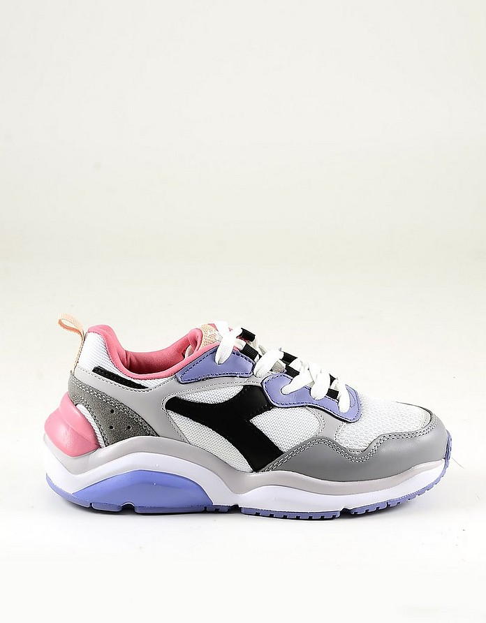 White Mesh and Color Block Leather Women's Sneakers - Diadora