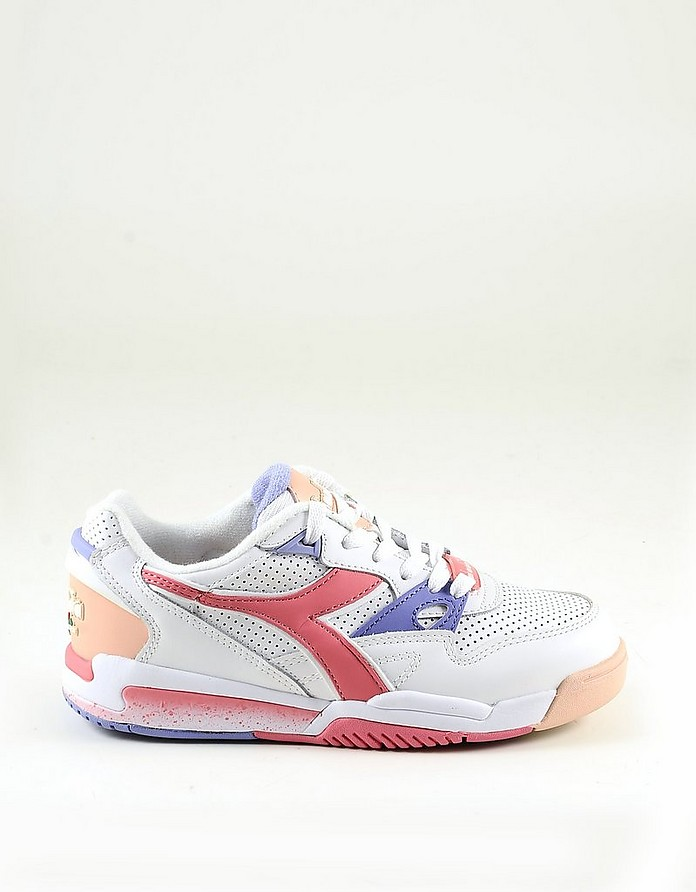 White Mesh and Pink Leather Women's Sneakers - Diadora
