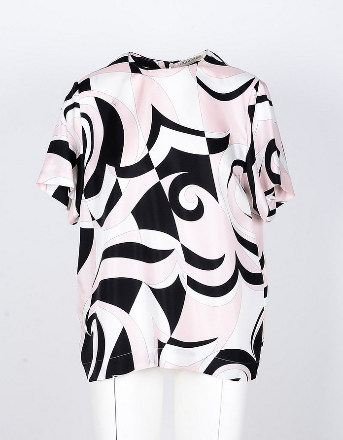 Black/Pink Signature Printed Silk Blouse - Emilio Pucci