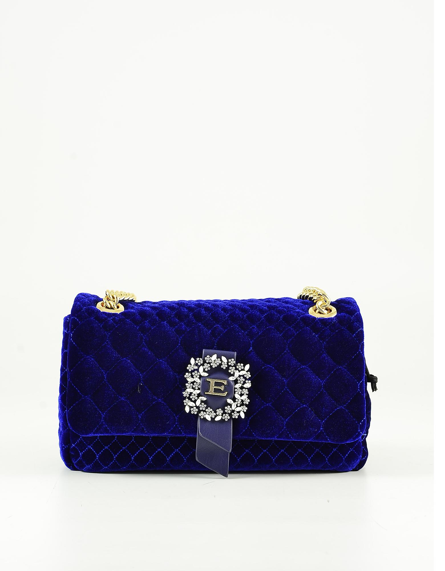 Ermanno Scervino Deep Blue Velvet Shoulder Bag