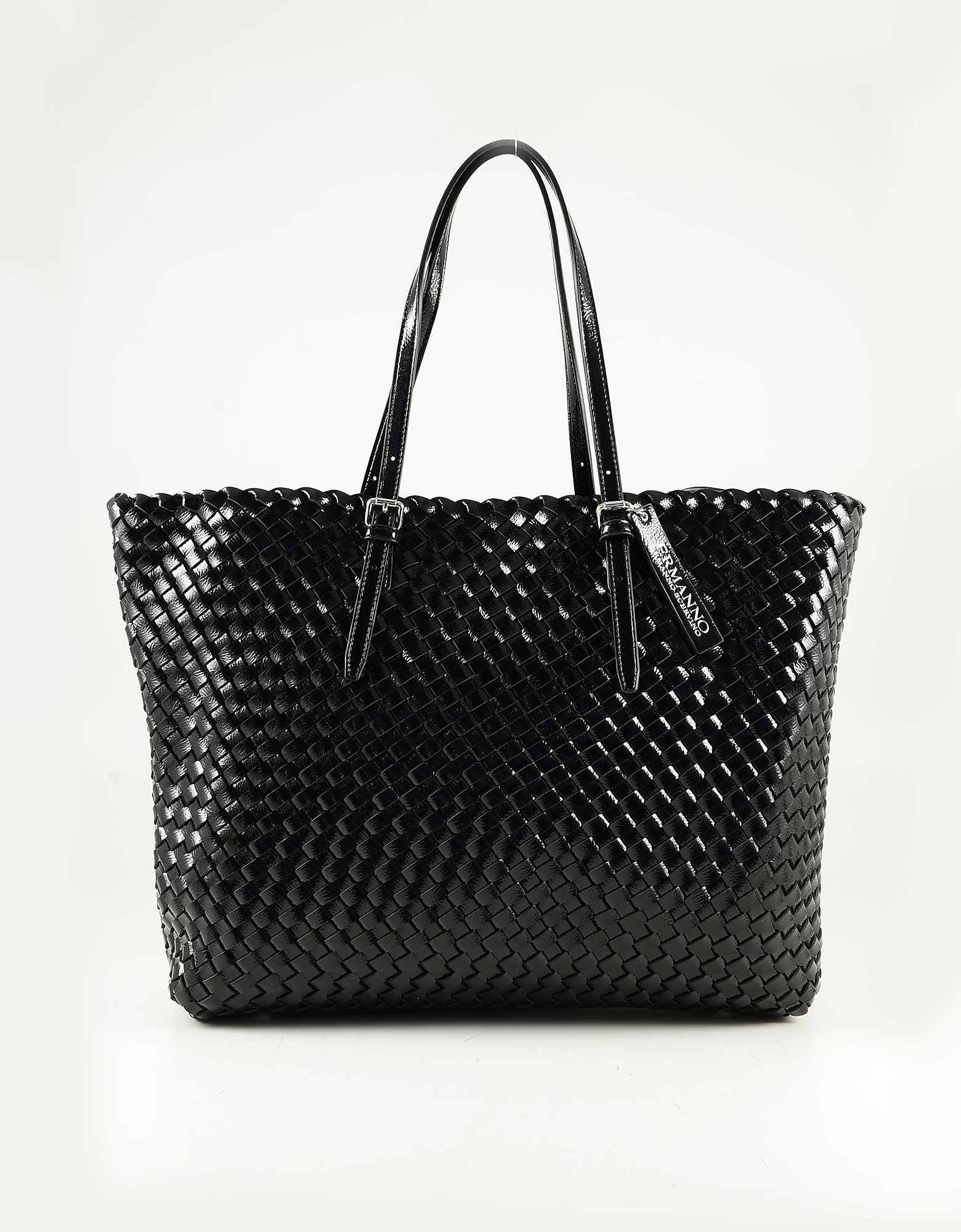 Ermanno Scervino Black Woven Eco-leather Tote Bag