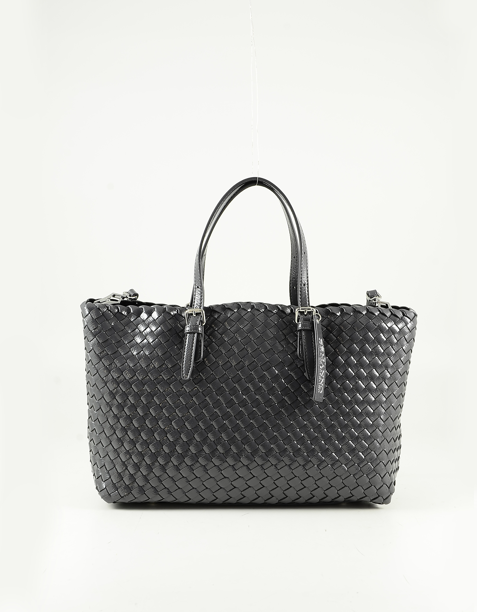 Ermanno Scervino Gray Medium Woven Eco-leather Tote Bag
