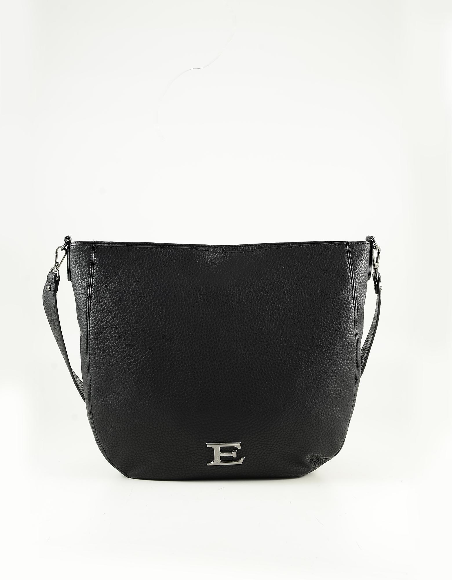 Ermanno Scervino Black Embossed Eco-leather Shoulder Bag