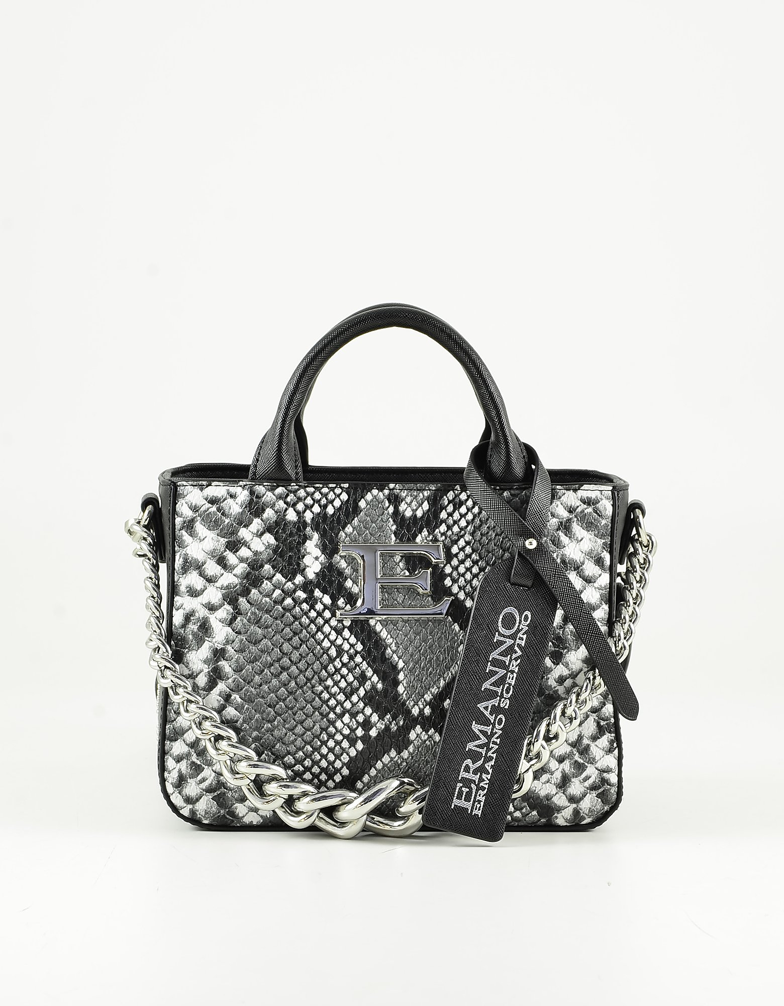 Ermanno Scervino Black Python Embossed Eco-leather Small Top Handle Bag