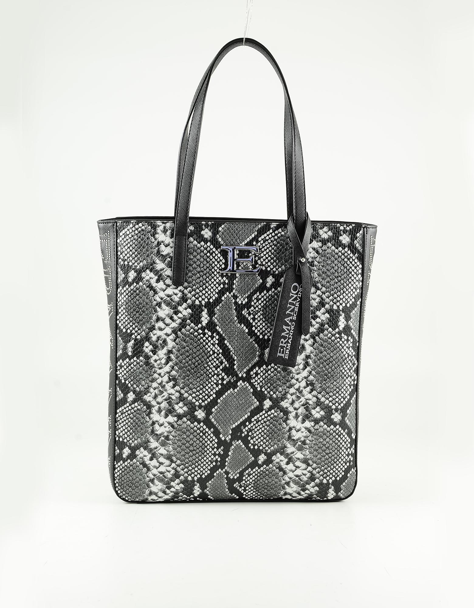 Ermanno Scervino Dark Gray Python Printed Eco Leather Tote Bag