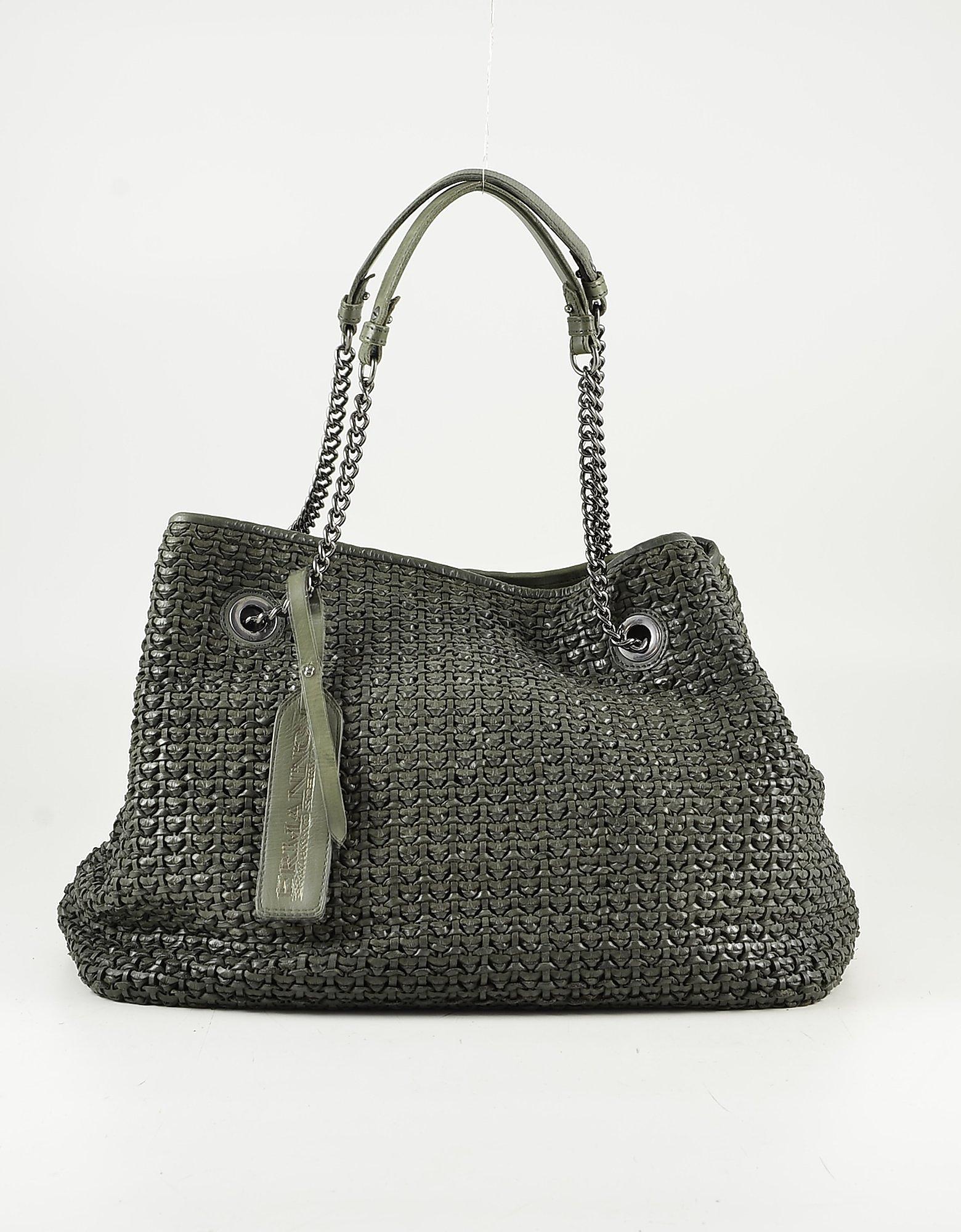 Ermanno Scervino Green Woven Leather Tote Bag
