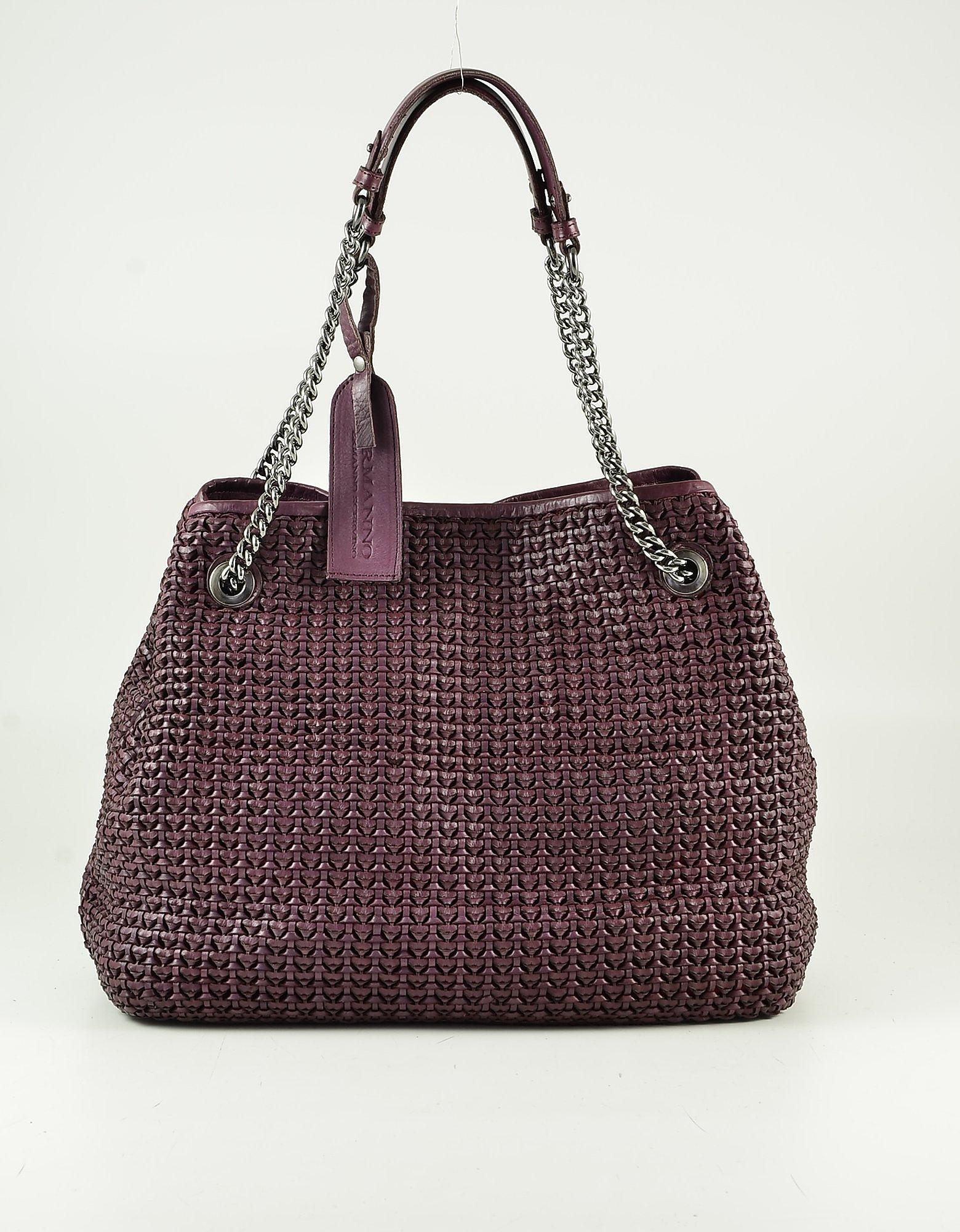 Ermanno Scervino Purple Woven Leather Tote Bag