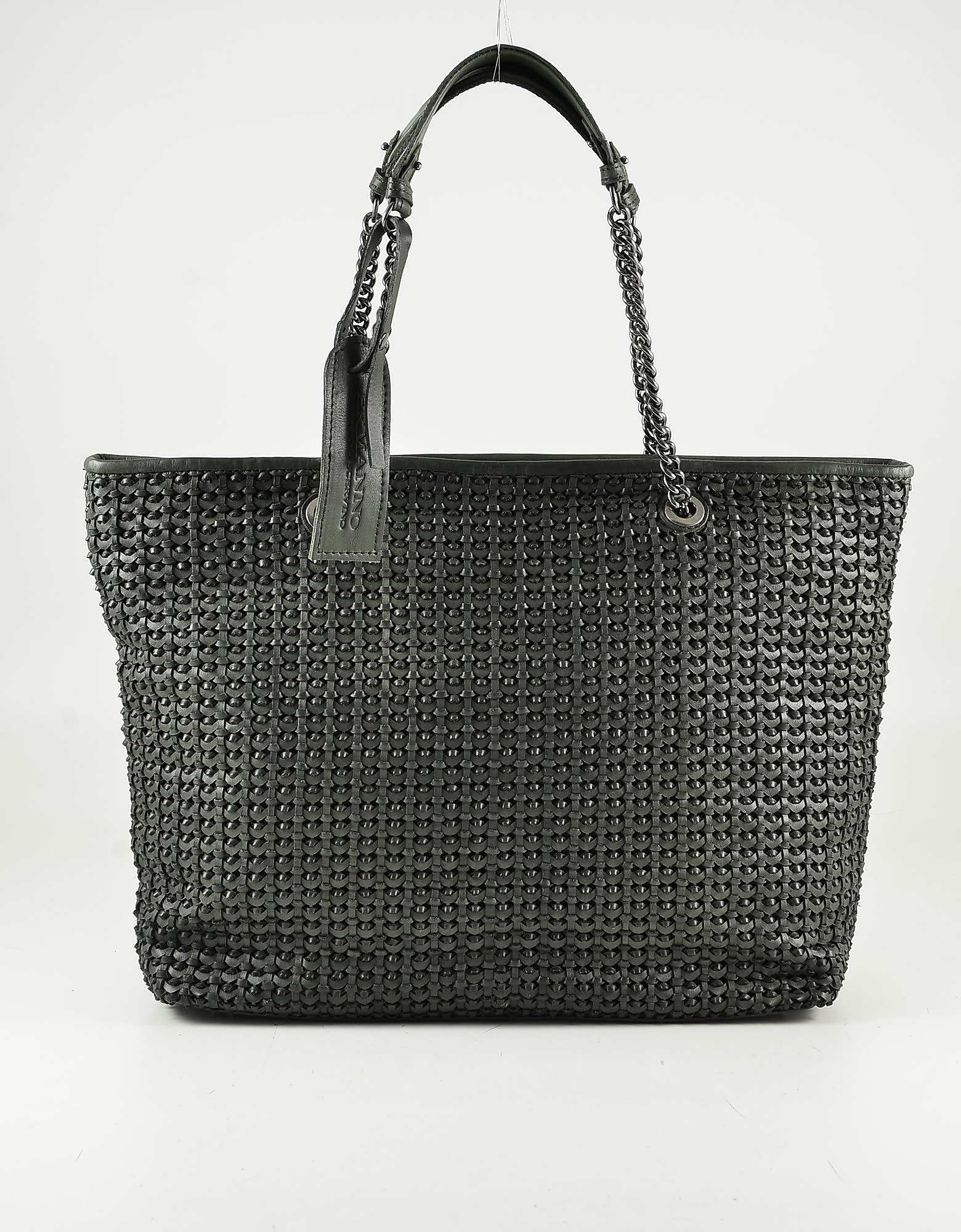 Ermanno Scervino Green Woven Leather Tote Bag W/chain Handles