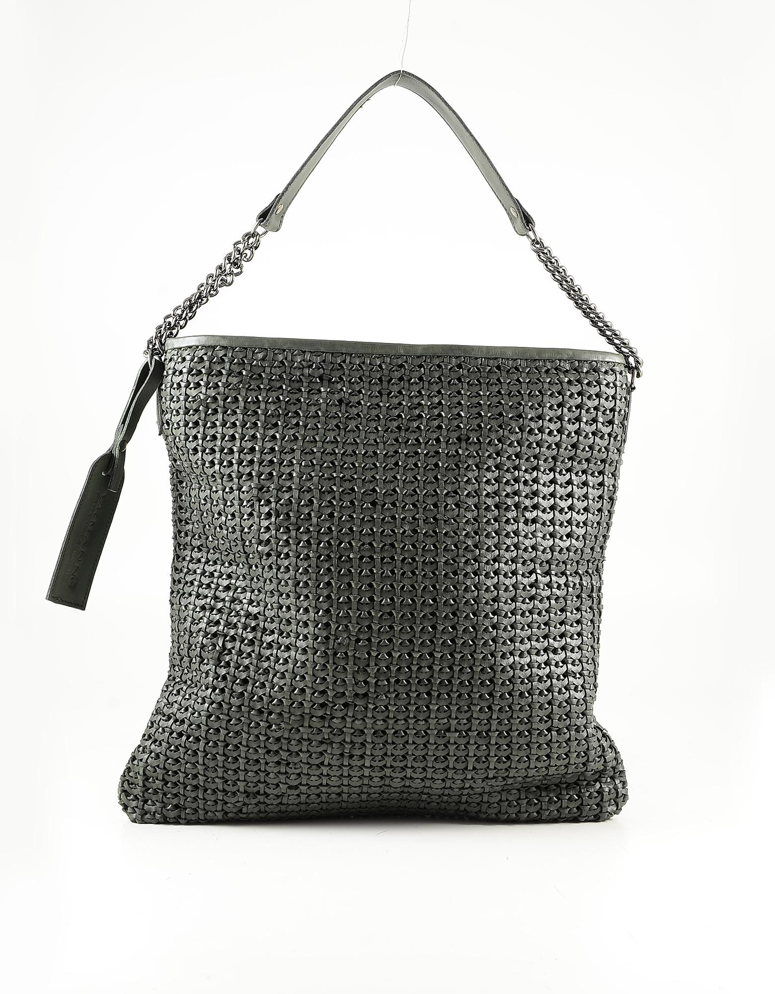 Ermanno Scervino Green Woven Leather Shoulder Bag