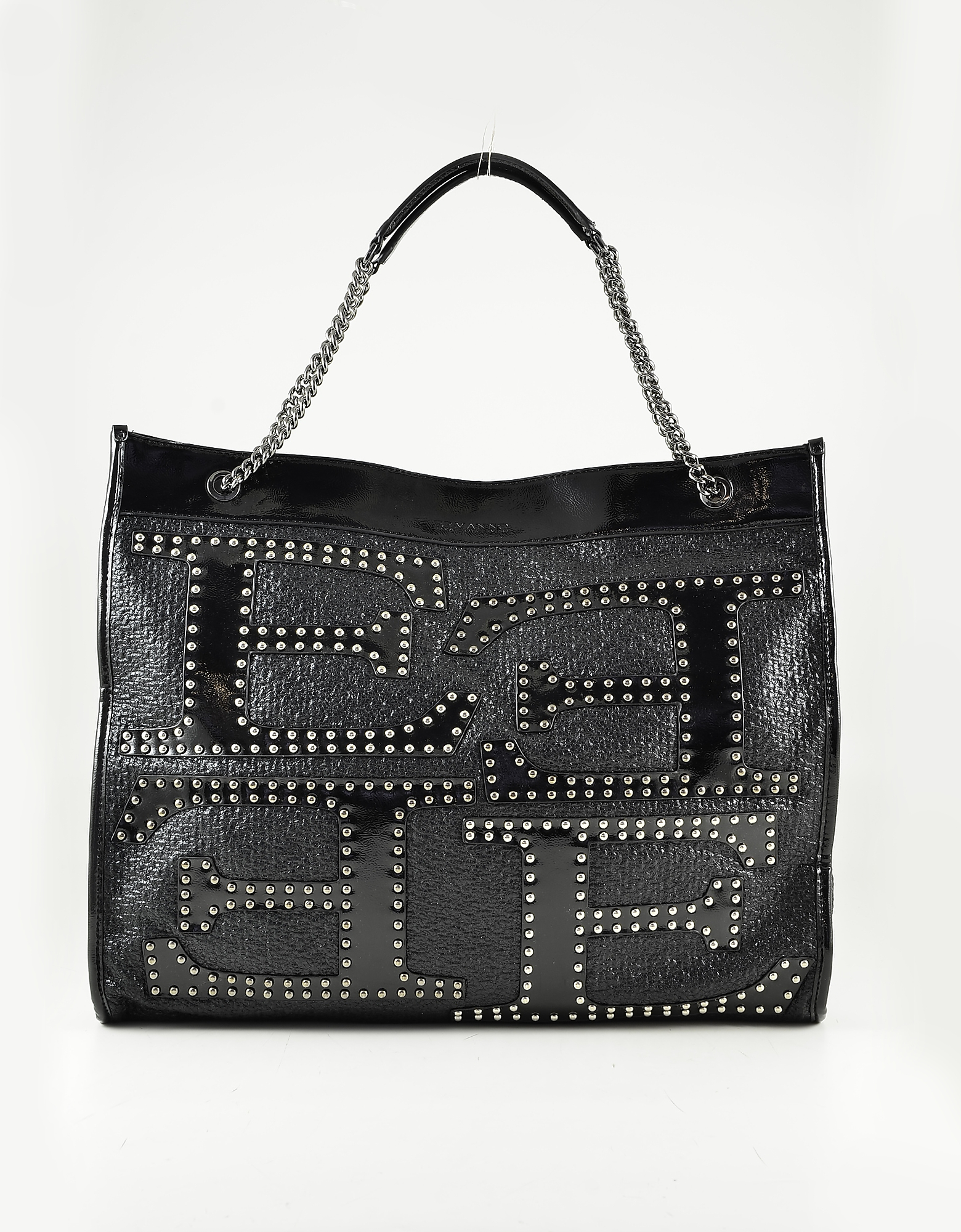 Ermanno Scervino Black Studded Eco-leather E Tote Bag