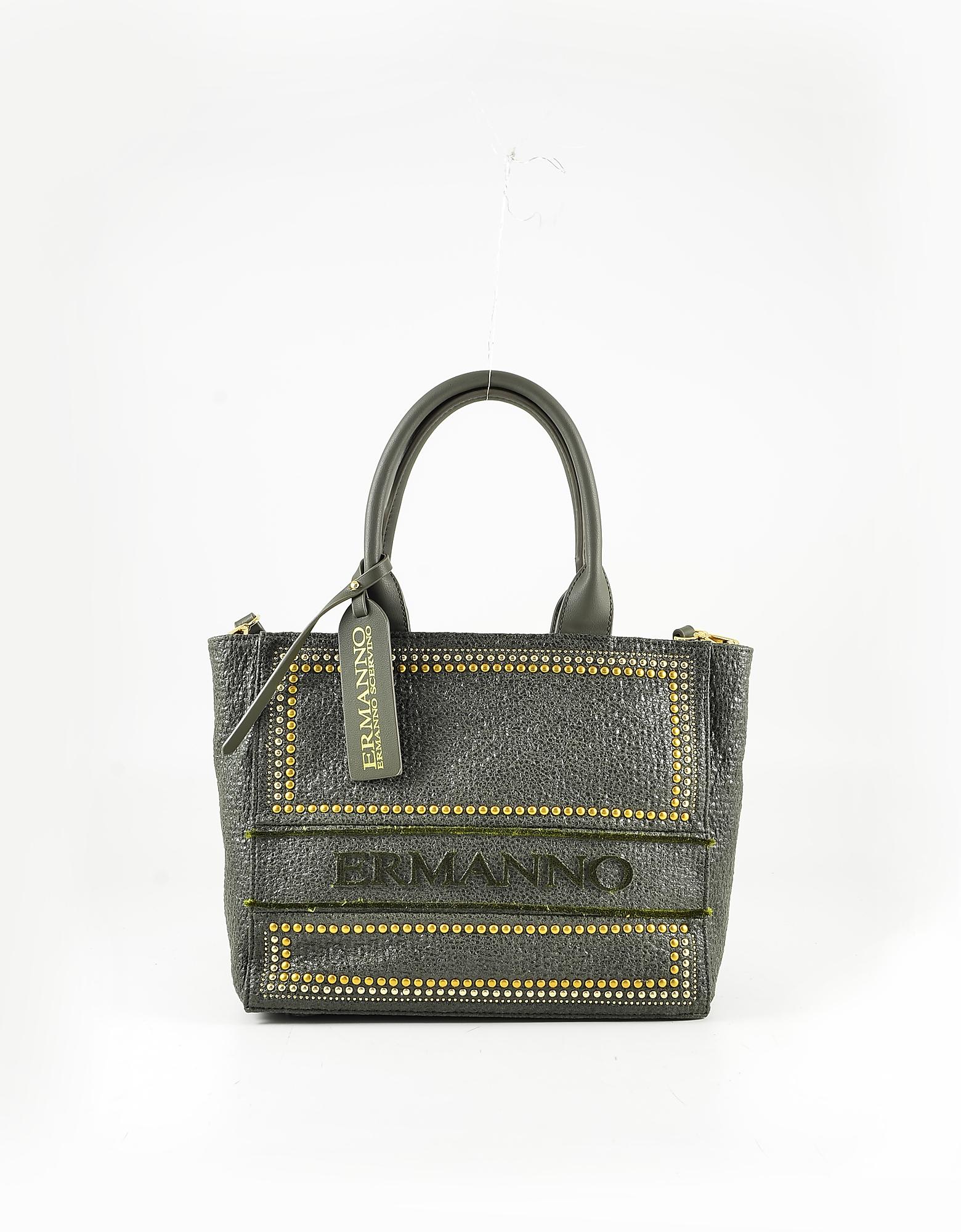 Ermanno Scervino Military Green Eco Leather Small Tote Bag
