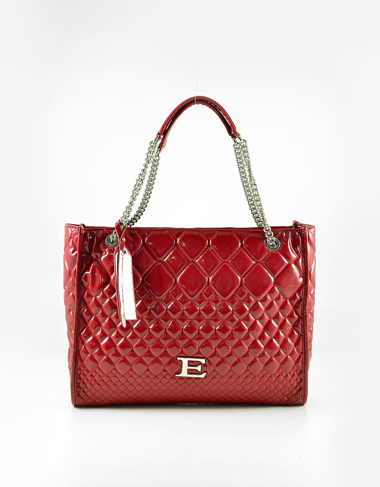 Ermanno Scervino Red Quilted Patent Eco-leather Tote Bag
