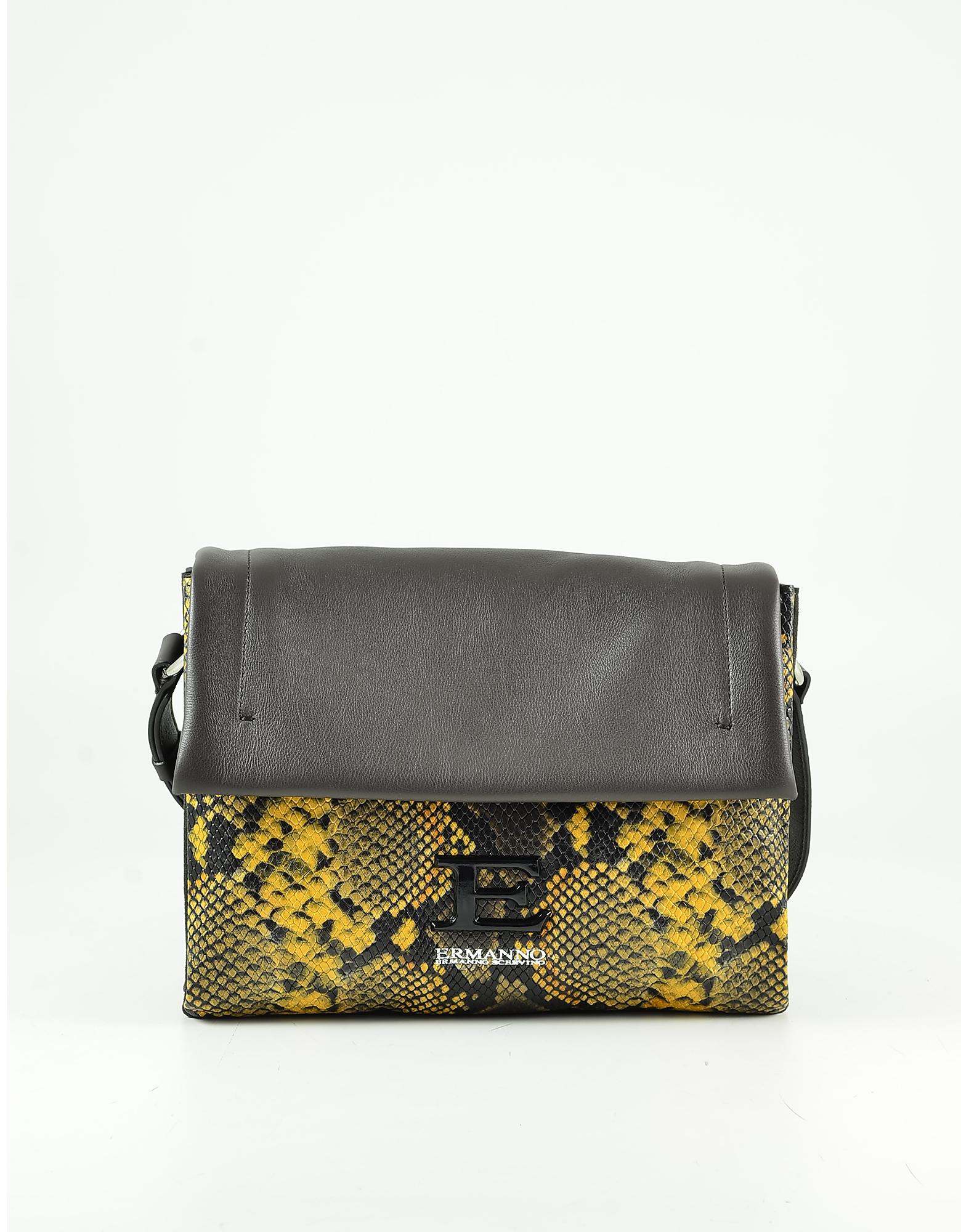 Ermanno Scervino Yellow Python Embossed Leather Shoulder Bag