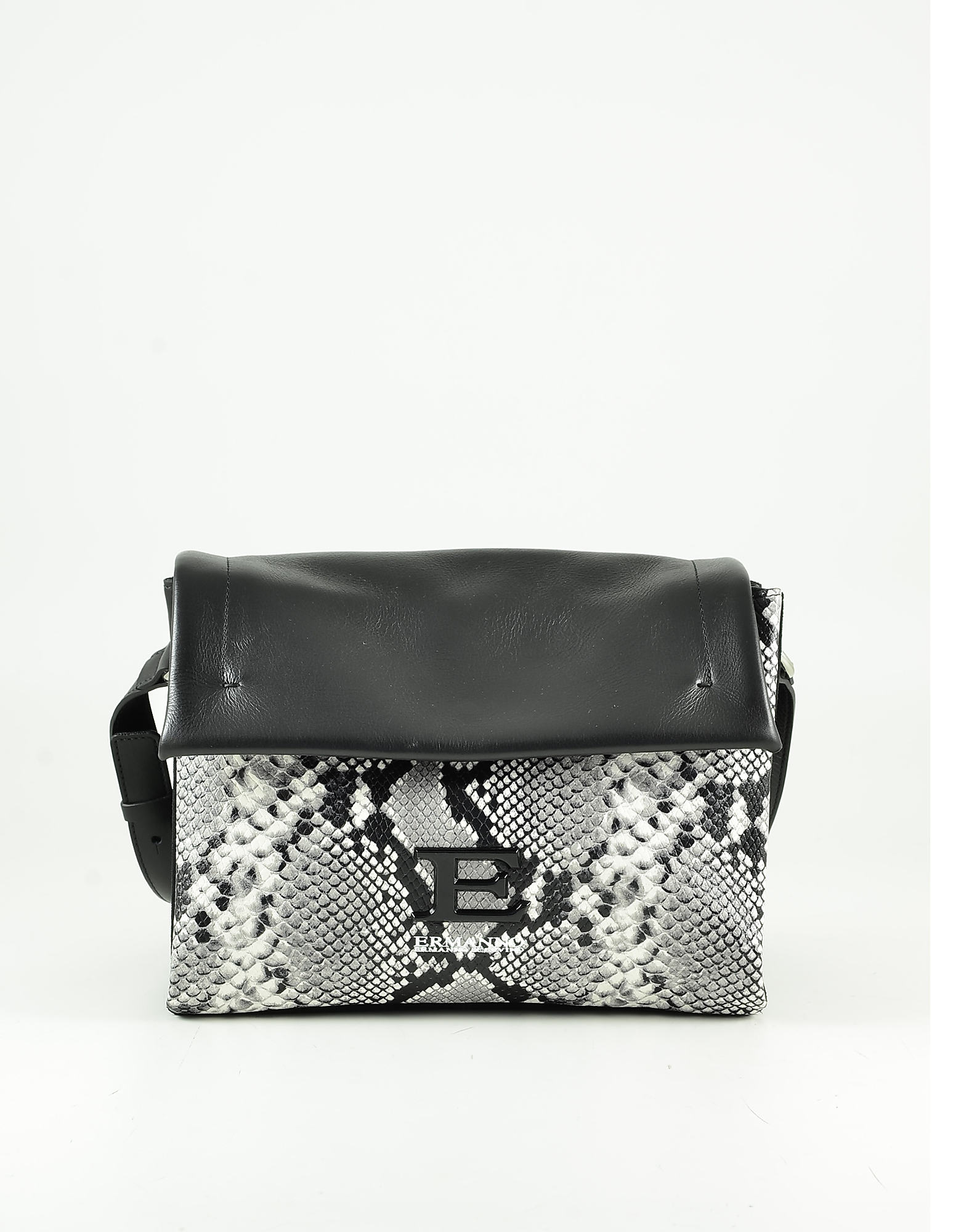 Ermanno Scervino Stone Gray Python Embossed Leather Shoulder Bag