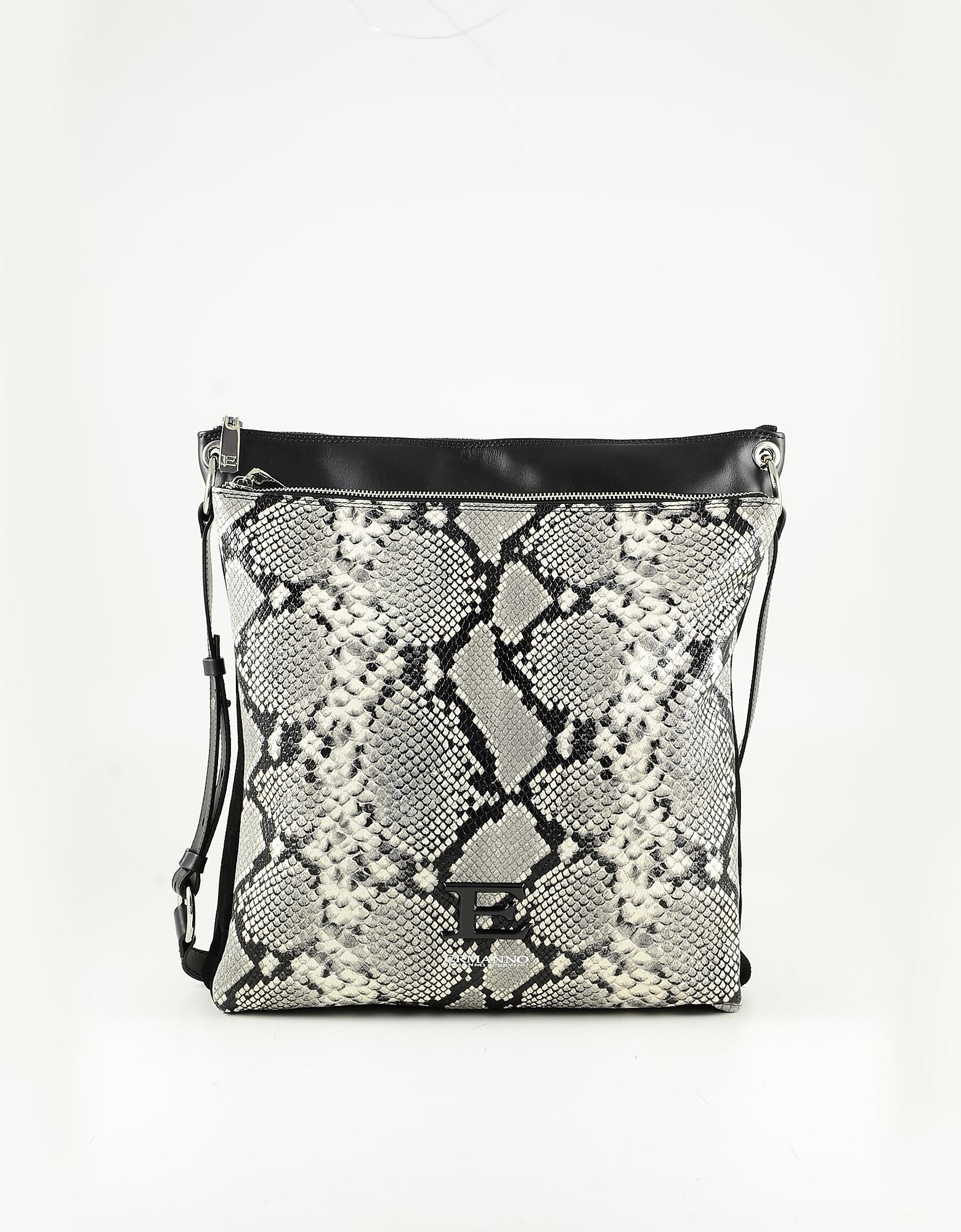 Ermanno Scervino Gray Python Embossed Leather Crossbody Bag