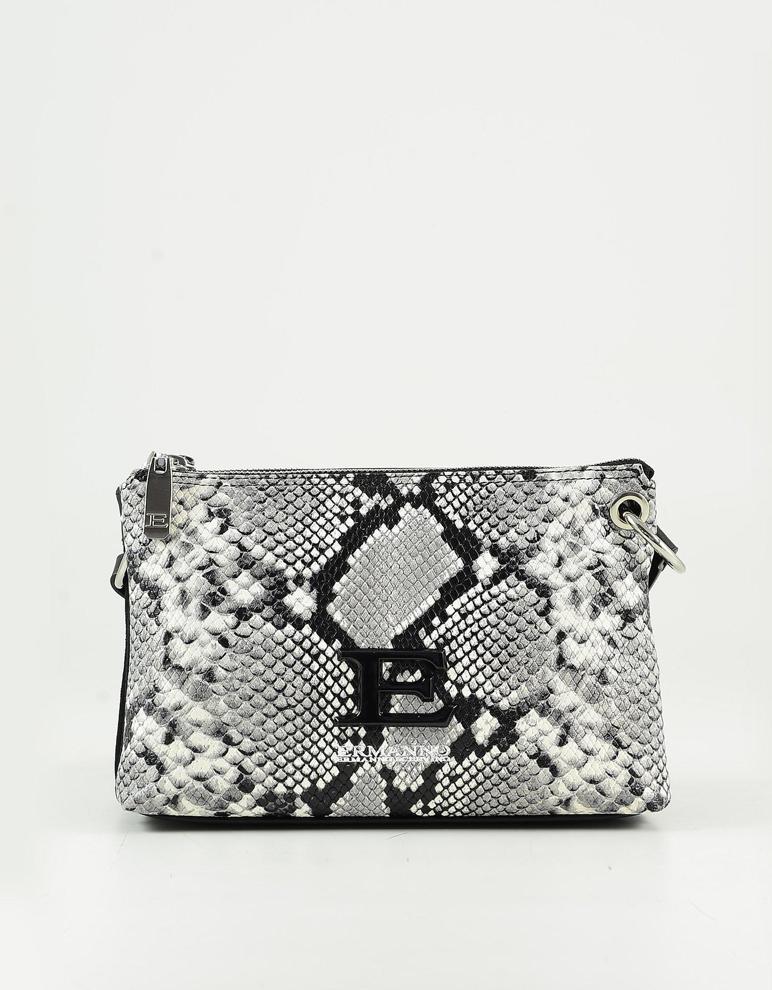 Ermanno Scervino Gray Python Embossed Leather Shoulder Bag