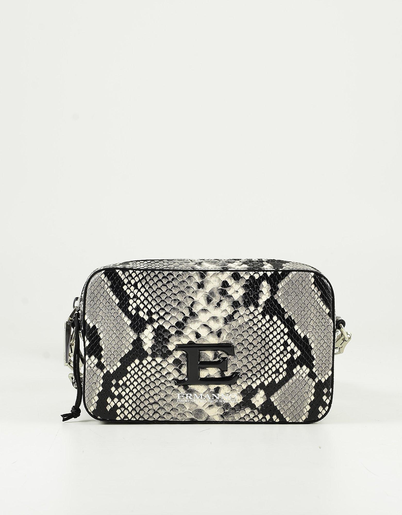 Ermanno Scervino Stone Gray Python Embossed Leather Shoulder/belt Bag