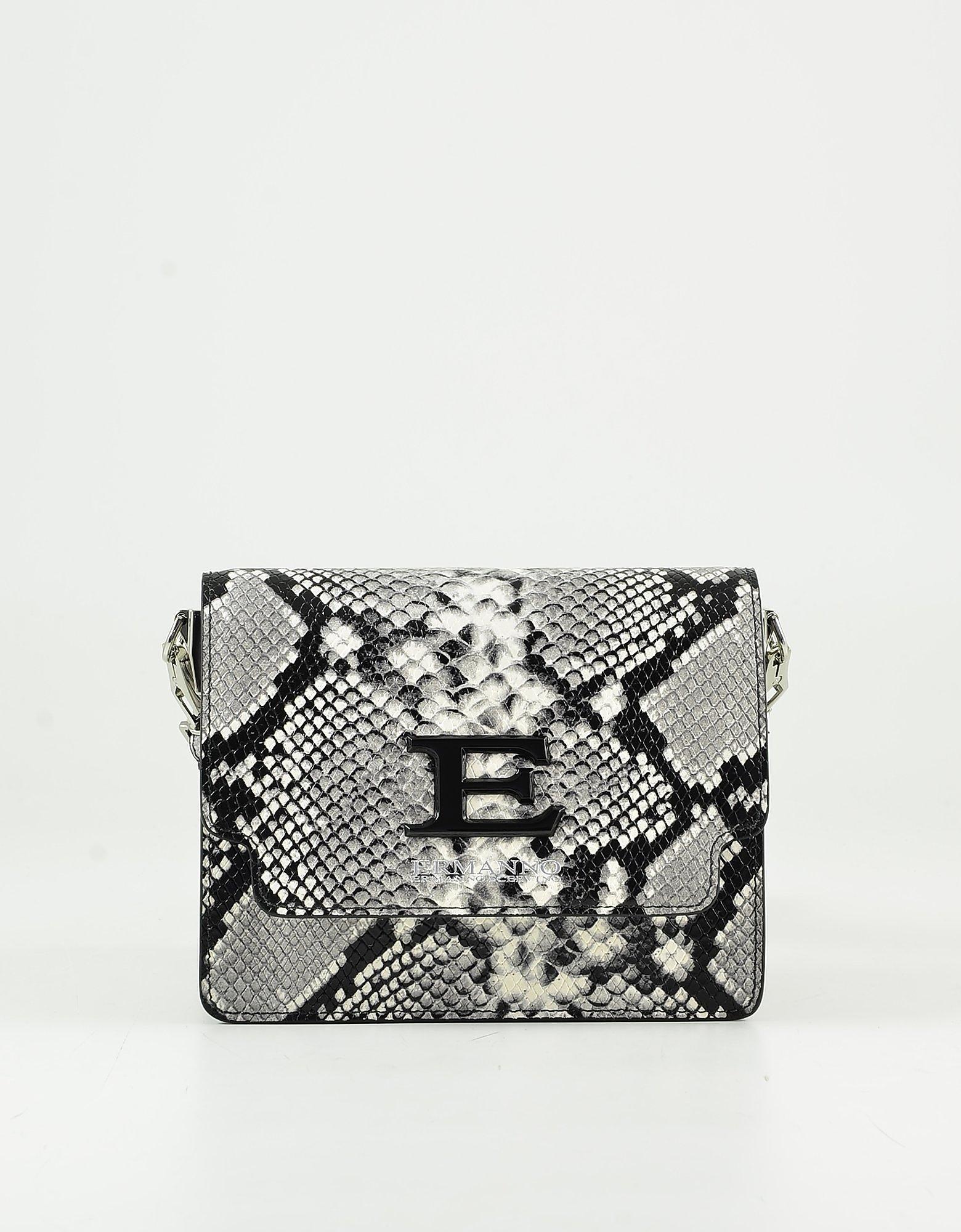 Ermanno Scervino Stone Gray Embossed Leather Shoulder Bag