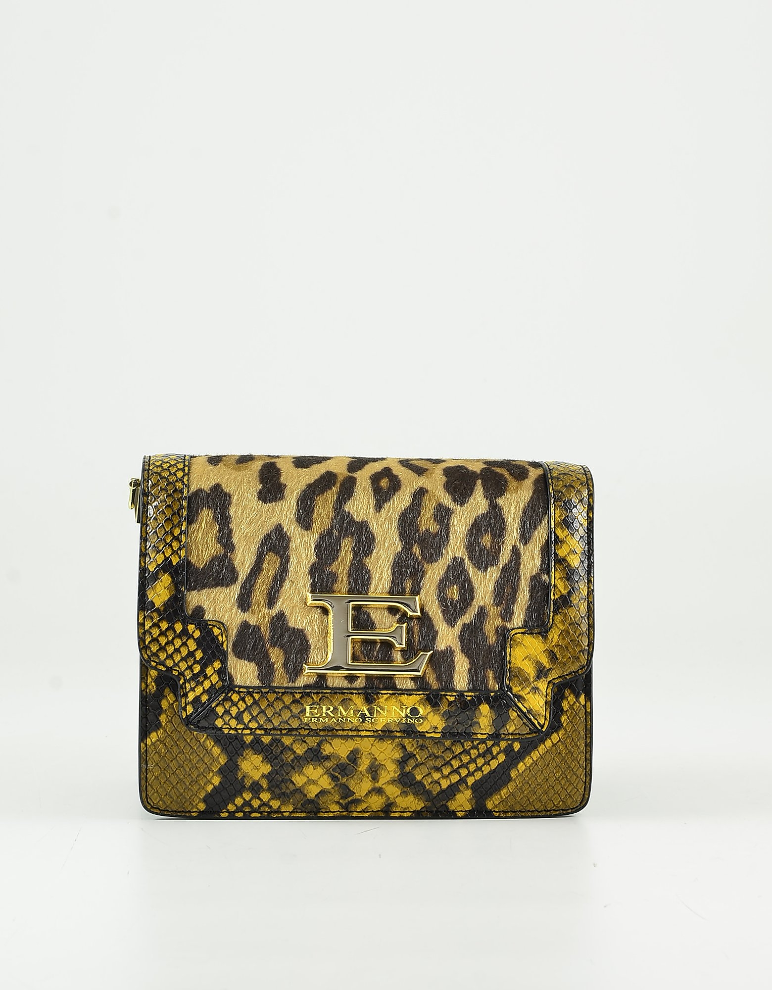Ermanno Scervino Animal Print Small Shoulder Bag In Brown