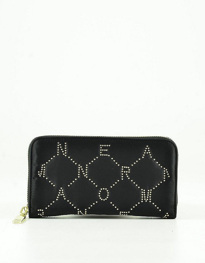 Black Eco-Leather Zip-Around Women's Continental Wallet - Ermanno Scervino
