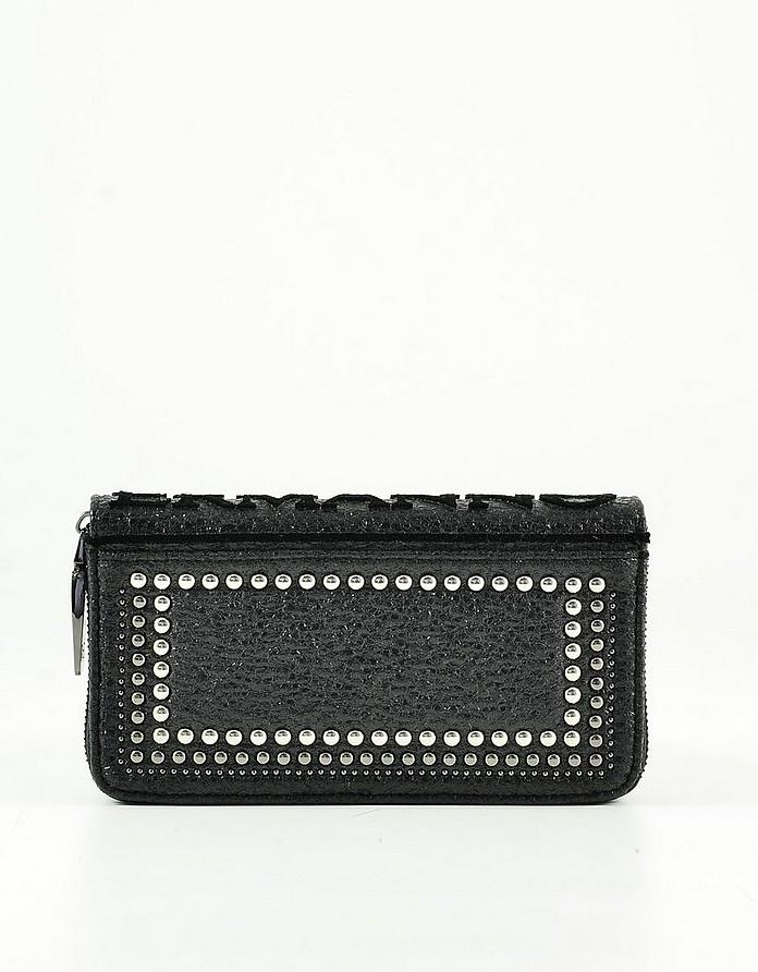 Black Eco-Leather Zip-Around Women's Continental Wallet w/Studs - Ermanno Scervino
