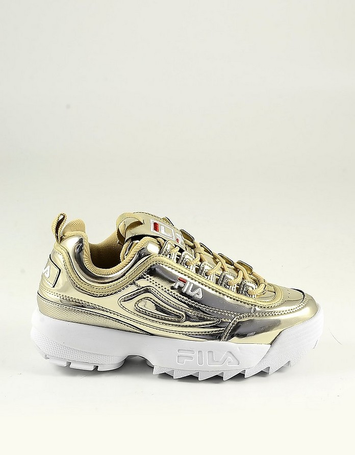 Laminated Gold Leather Women's Sneakers - FILA