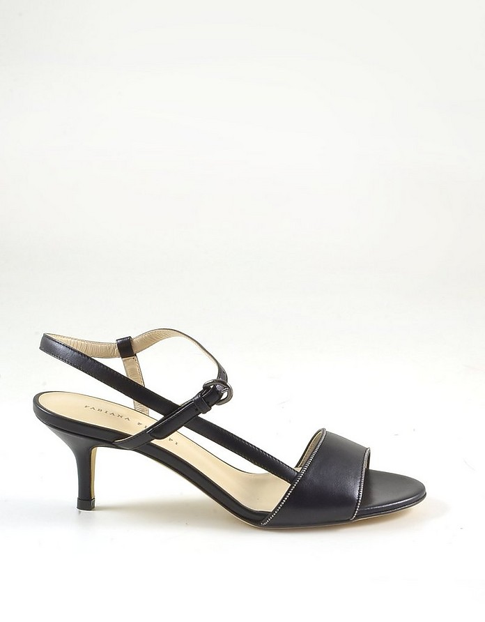 Women's Black Leather Mid-Heel Sandals - Fabiana Filippi