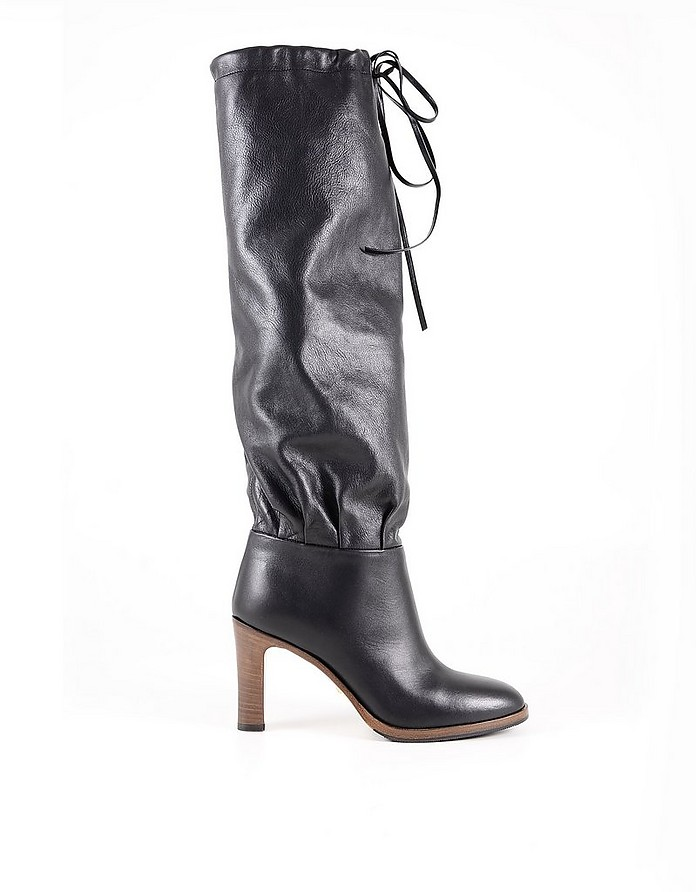 Black Leather Drawstring Women's Boots - Gucci