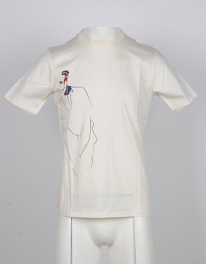 White Printed Cotton Men's T-Shirt - Gazzarrini