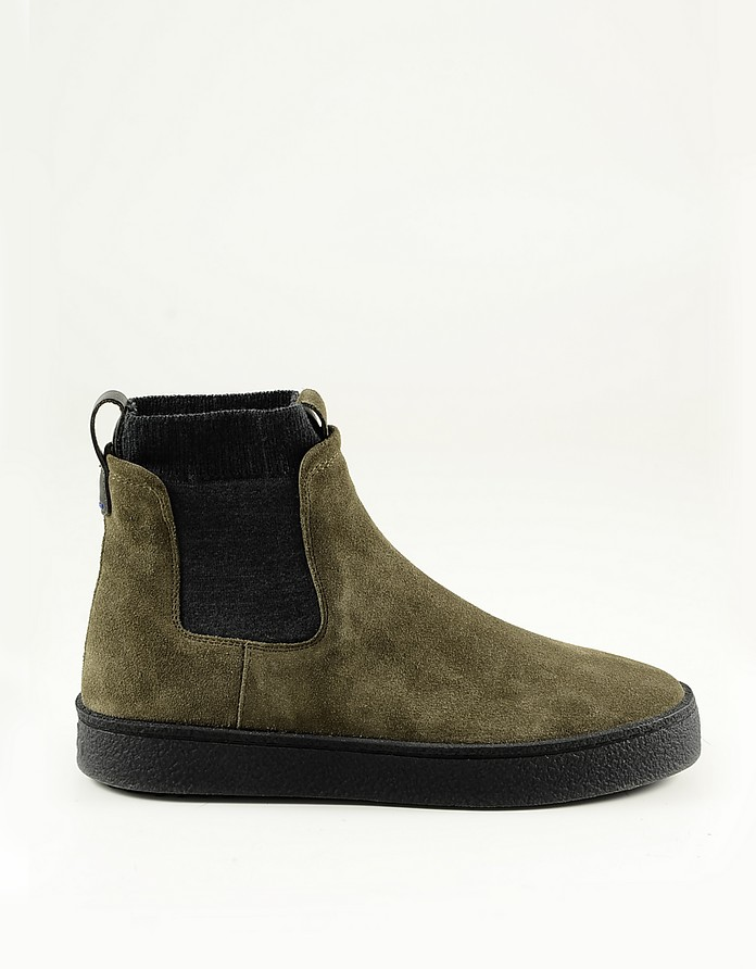 Green Suede Men's Booties w/Rubber Sole - Hogan