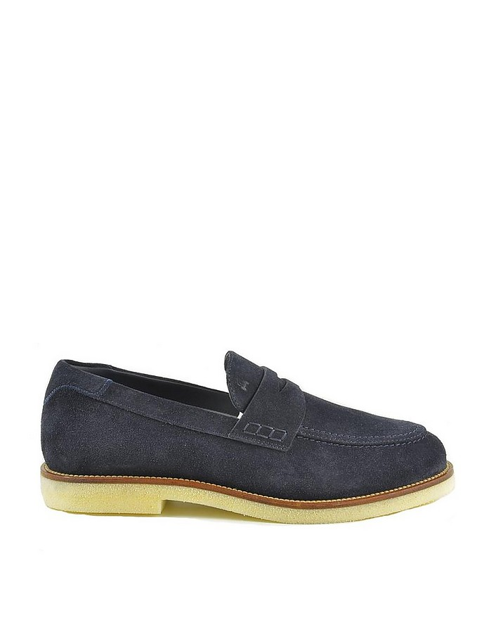 Men's Navy Blue Loafer Shoes - Hogan