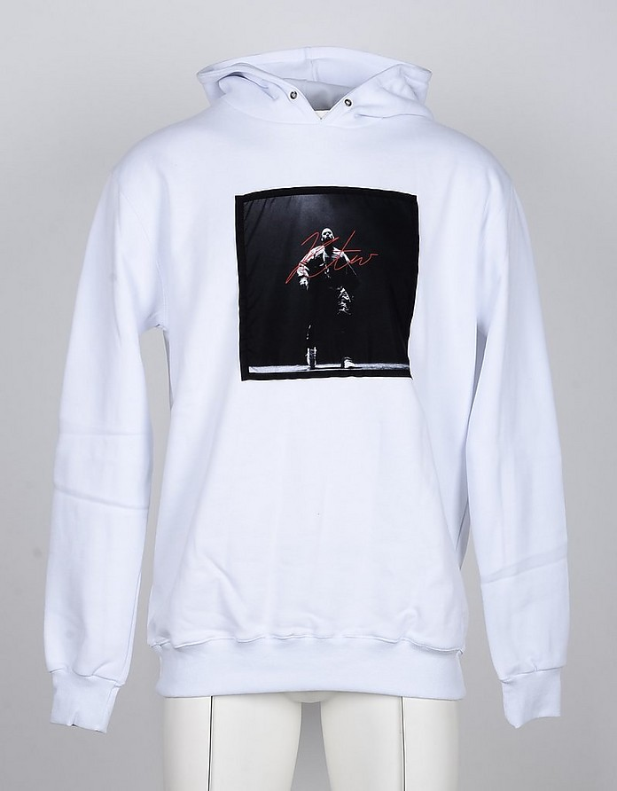 White Cotton Signature Print Men's Hoodie - Kissing the War