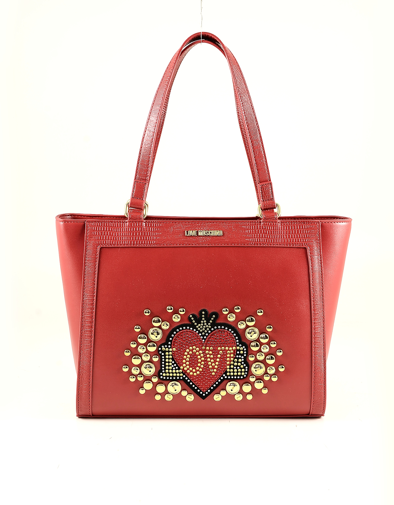 Love Moschino Love & Heart Studded Red Eco-leather Tote Bag