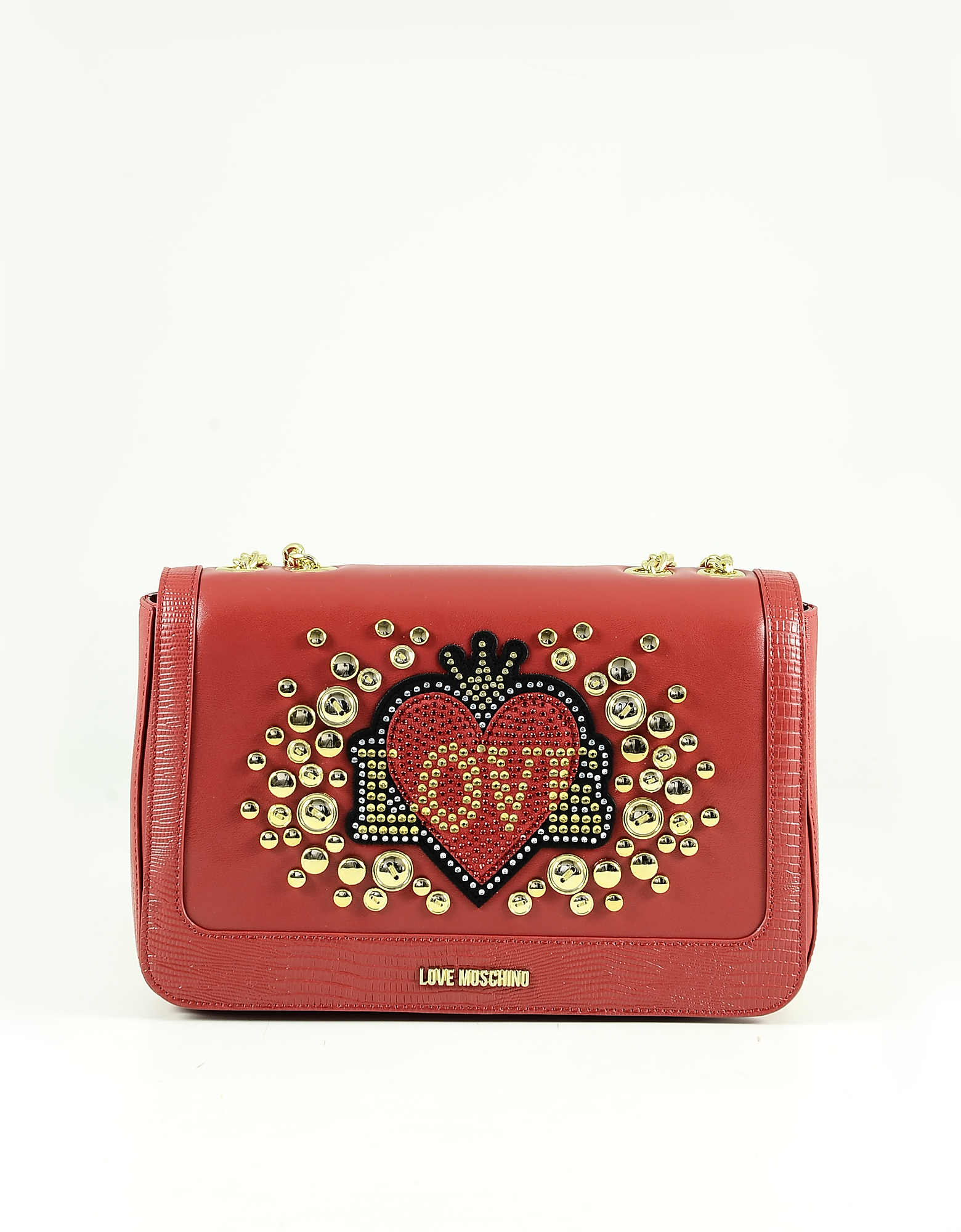 Love Moschino Red Hearts & Studs Eco-leather Shoulder Bag