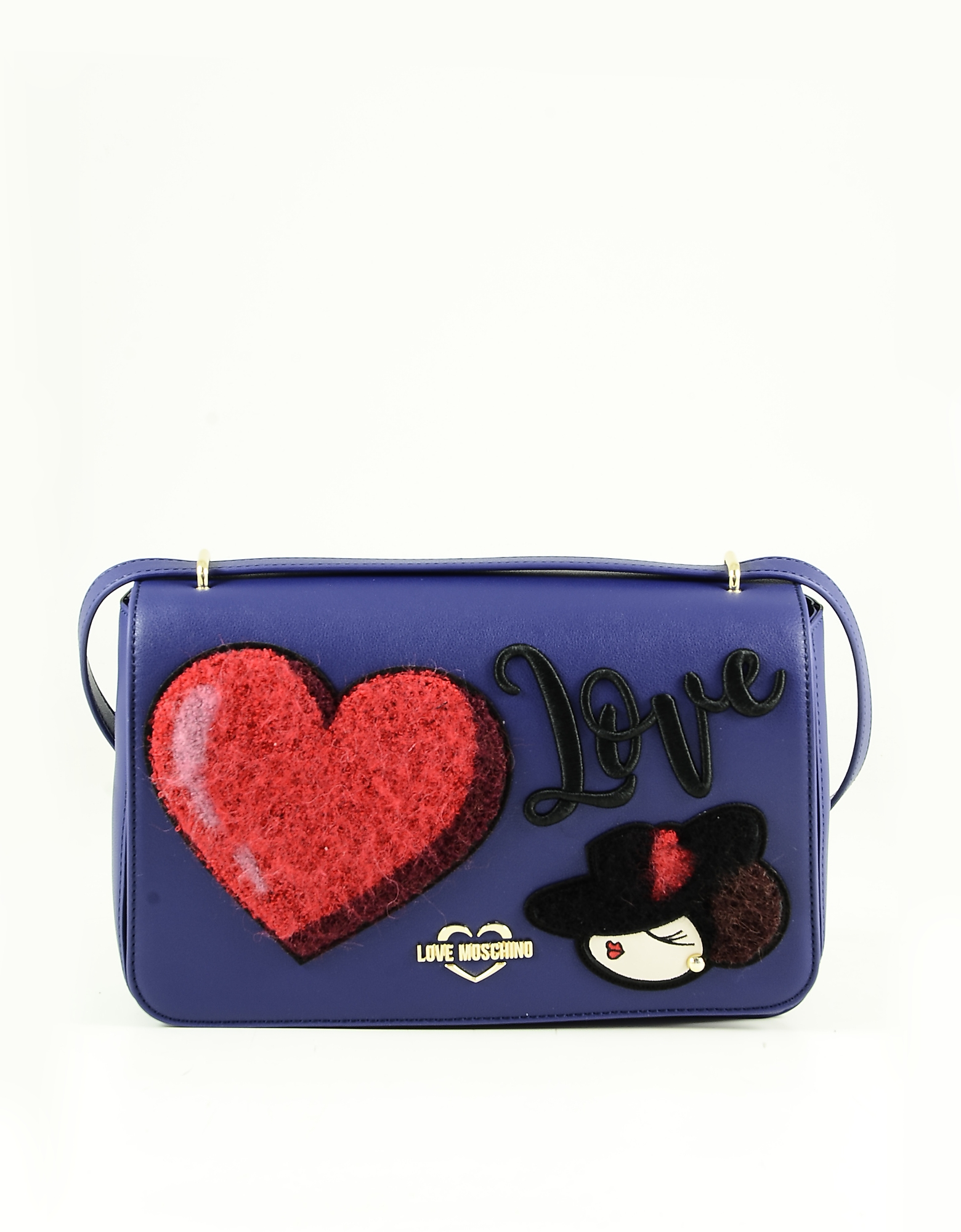 Love Moschino Blue Eco-leather Heart Shoulder Bag