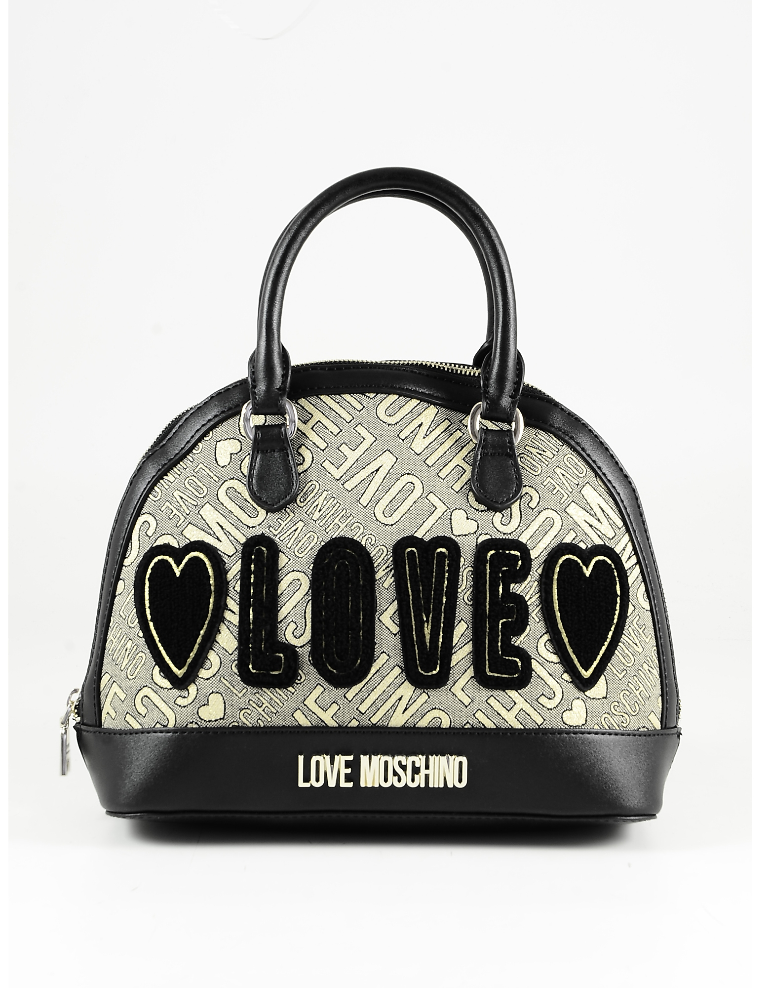 Love Moschino Black Eco Leather & Gold Lurex Fabric Bowler Bag In Birch