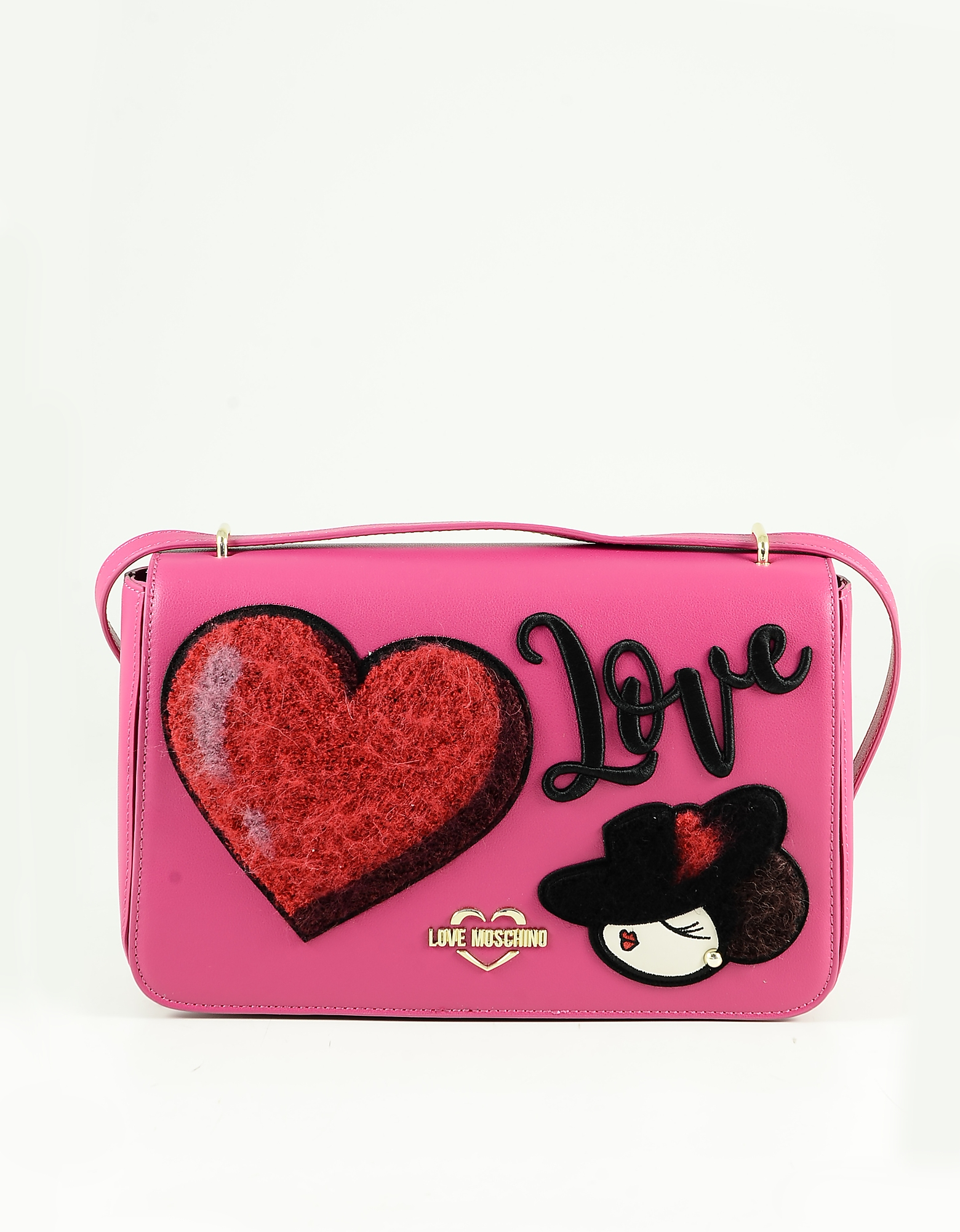 Love Moschino Fuchsia Eco-leather Heart Shoulder Bag