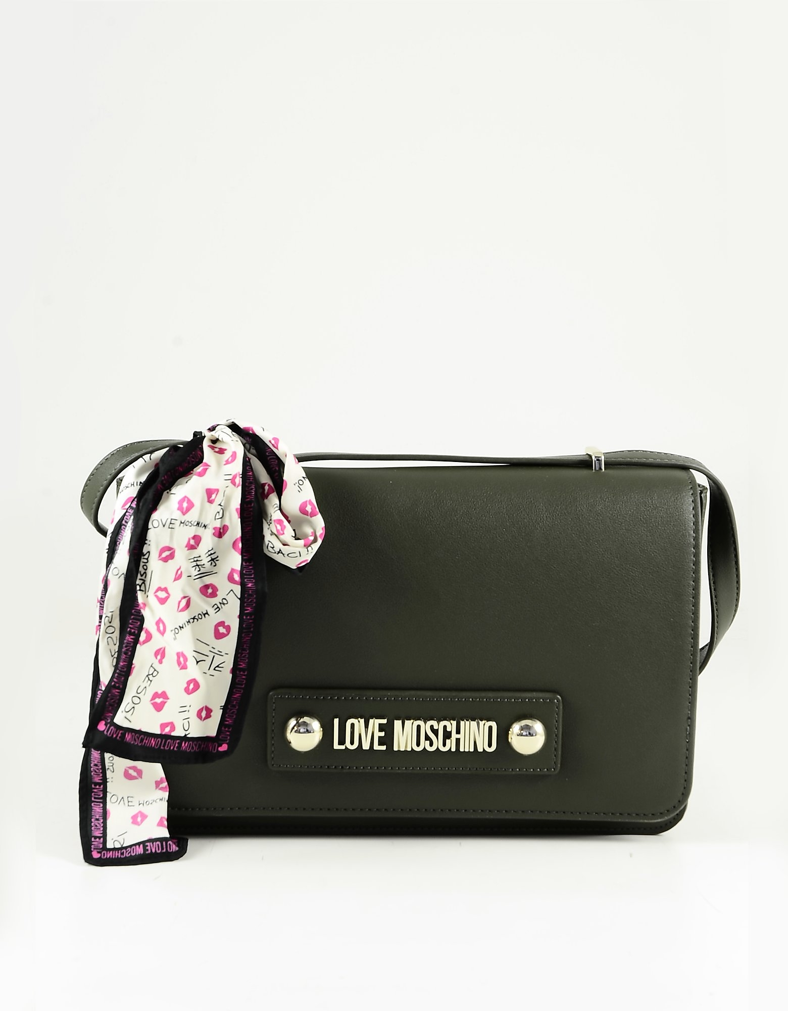 Love Moschino Green Eco-leather Scarf Shoulder Bag