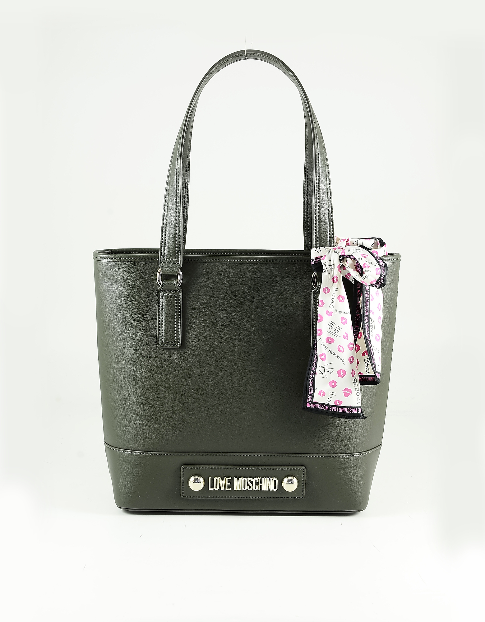 Love Moschino Green Eco Leather Scarf Tote Bag