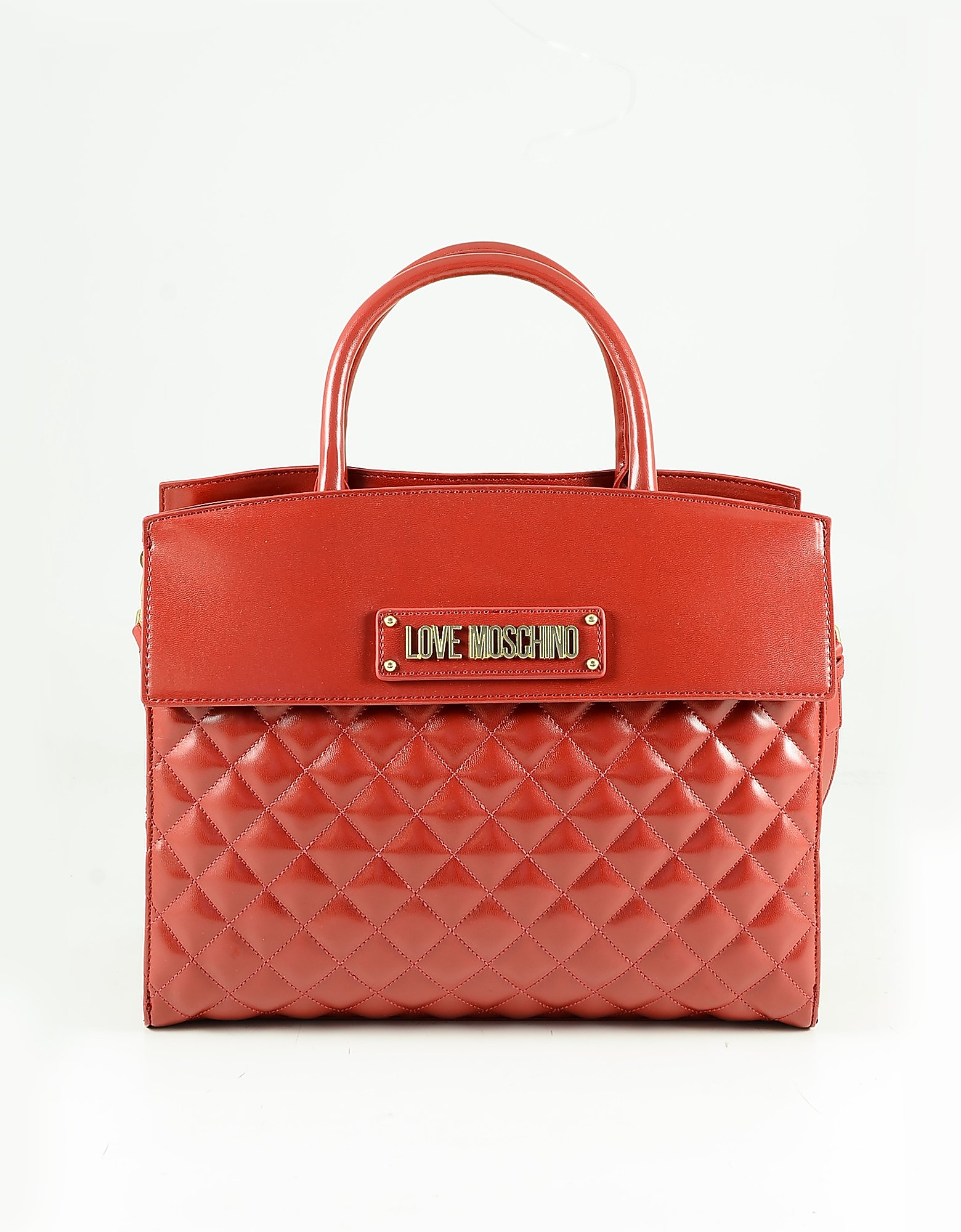 Love Moschino Red Quilted Eco Leather Tote Bag